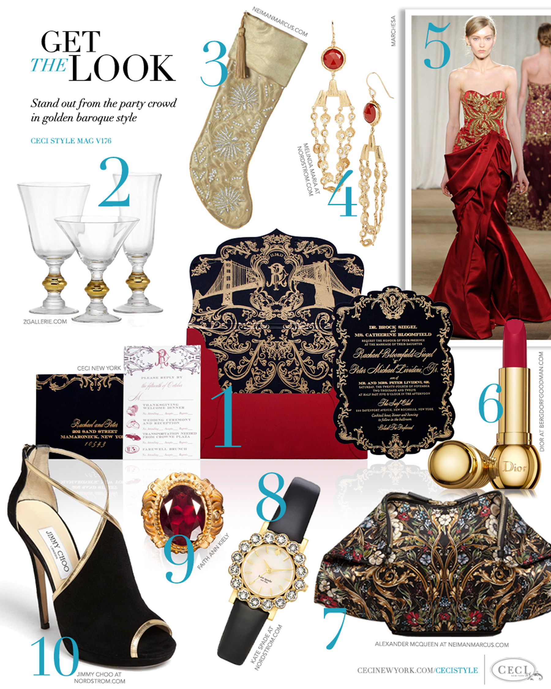 CeciStyle Magazine v176: Get The Look - A Dazzling Holiday - Stand out from the party crowd in golden baroque style - Luxury wedding Invitations by Ceci New York - ceci new york, invitation, zgallerie.com, home goods, neimanmarcus.com, melinda maria, jewelry, marchesa, fashion, dior, beauty, alexander mcqueen, handbags, kate spade, faith ann kiely, jimmy choo, shoes