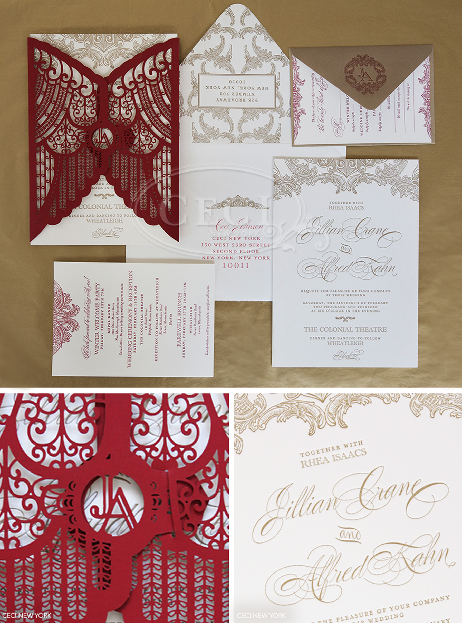 Luxury Wedding Invitations by Ceci New York - Our Muse - Luxurious Winter Wedding - Be inspired by Jillian and Alfred's luxurious winter wedding in the Berkshires - wedding, ceci new york, invitations, red, gold, letterpress, theater inspired, curtains, laser-cut, bellyband, burgundy