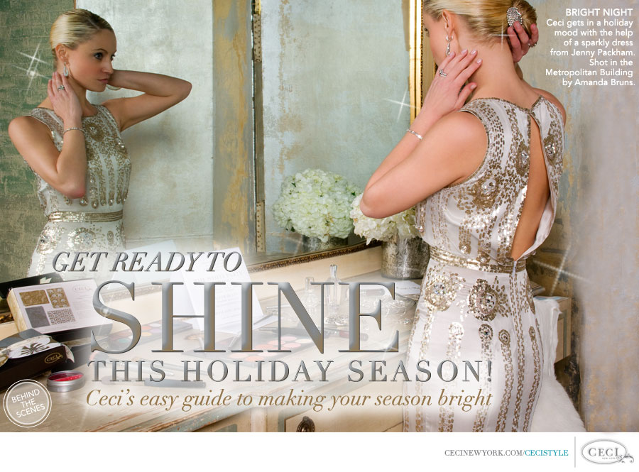 Ceci Johnson of Ceci New York - BRIGHT NIGHT: Ceci gets in a holiday mood with the help of a sparkly dress from Jenny Packham. Shot in the Metropolitan Building by Amanda Bruns.