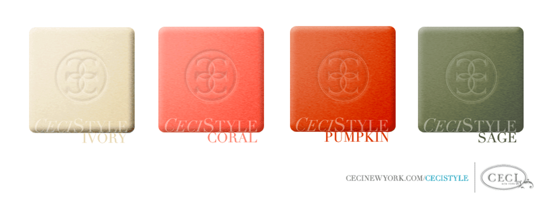 Ceci's Color Stories - Coral & Ivory Wedding Colors - color swatches, ivory, coral, pumpkin, sage, wedding