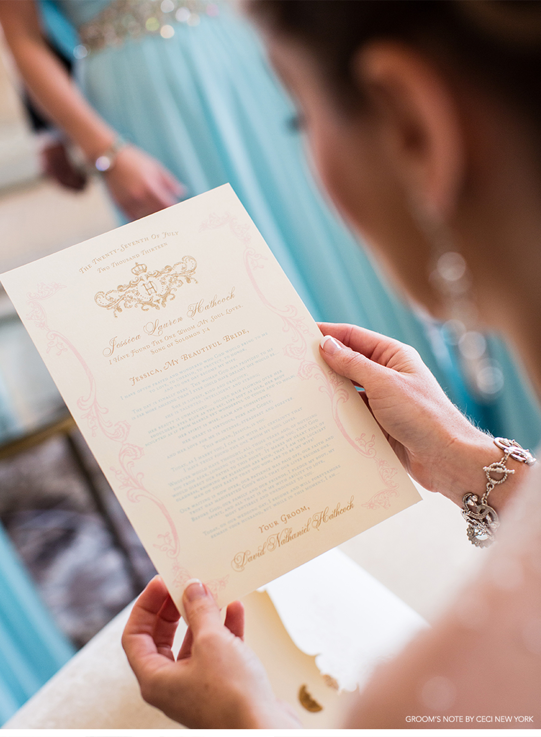 Our Muse - Regal French-Inspired Wedding - Be inspired by Jessica and David's regal wedding in shades of gold and sweet pastels - ceci new york, invitation, wedding invitation, luxury invitation, letterpress printing, foil stamping, die-cut, gold, pink, blue, bee, honeycomb, groom's note