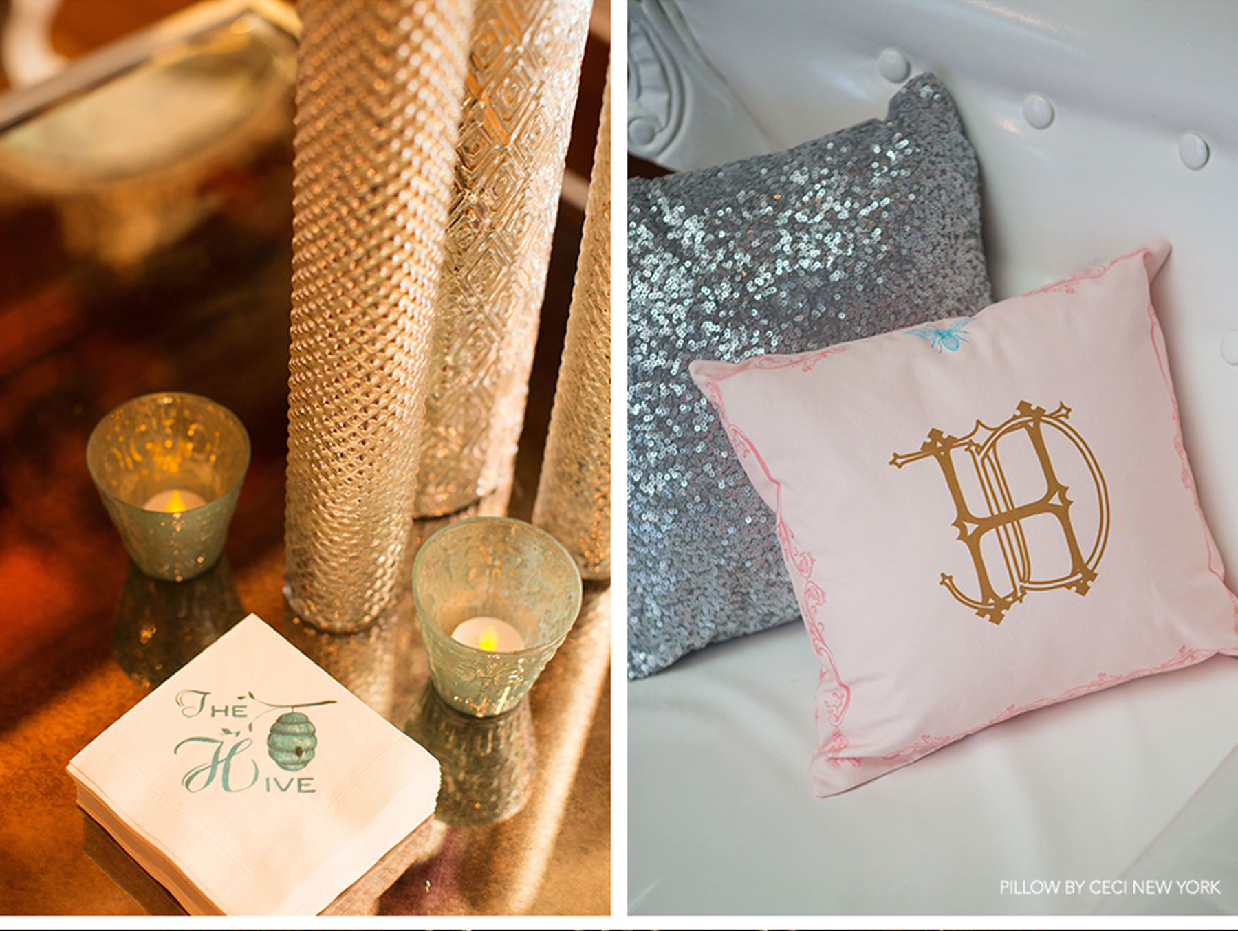 Our Muse - Regal France-Inspired Wedding - Be inspired by Jessica and David's regal wedding in shades of gold and sweet pastels - wedding, ceci new york, custom pillows, monogram, custom bow ties, royal wedding, reception, blue, pink, gold