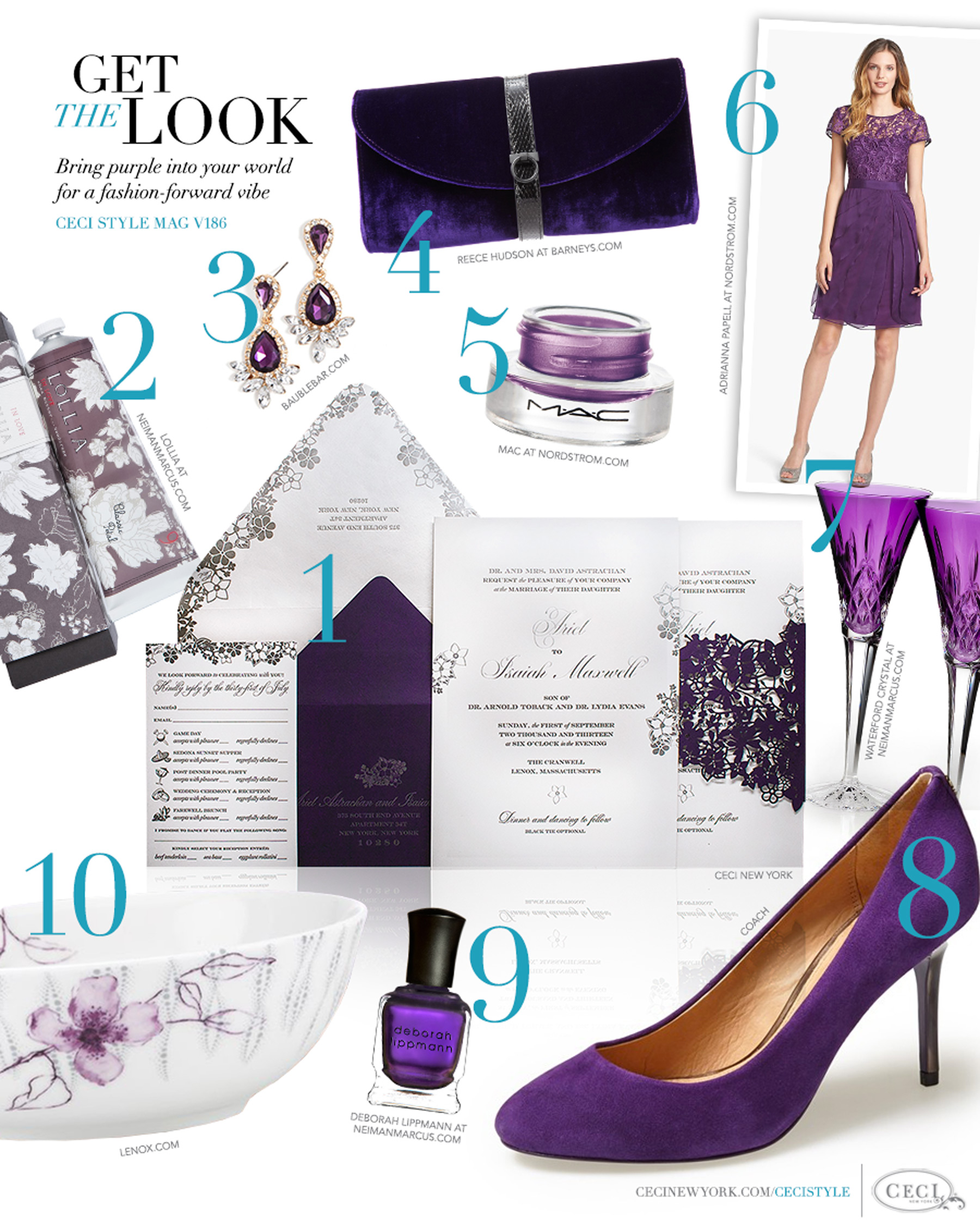 CeciStyle Magazine v186: Get The Look - Purple Passion - Bring purple into your world for a fashion-forward vibe - Luxury Wedding Invitations by Ceci New York - mac, beauty, invitations, ceci new york, purple, bauble bar, lollia, home goods, reece hudson, adrianna papell, waterford crystal, coach, shoes, deborah lippmann, lenox