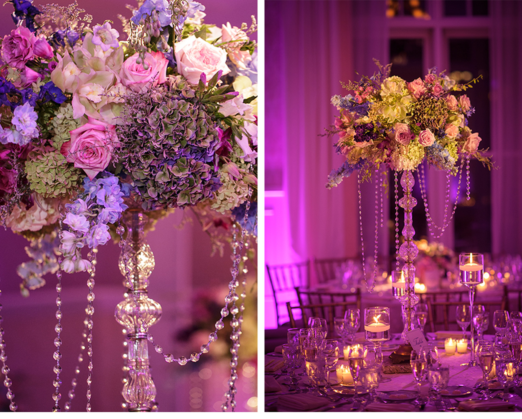 Our Muse - Perfectly Purple Wedding - Be inspired by Ariel and Isaiah's elegant Massachusetts wedding in shades of lavender, eggplant and fuchsia - wedding, lenox, massachusetts, berkshires, cranwell, fuchsia, ballroom, centerpieces, lighting, purple, radiant orchid, orchid, wedding cake