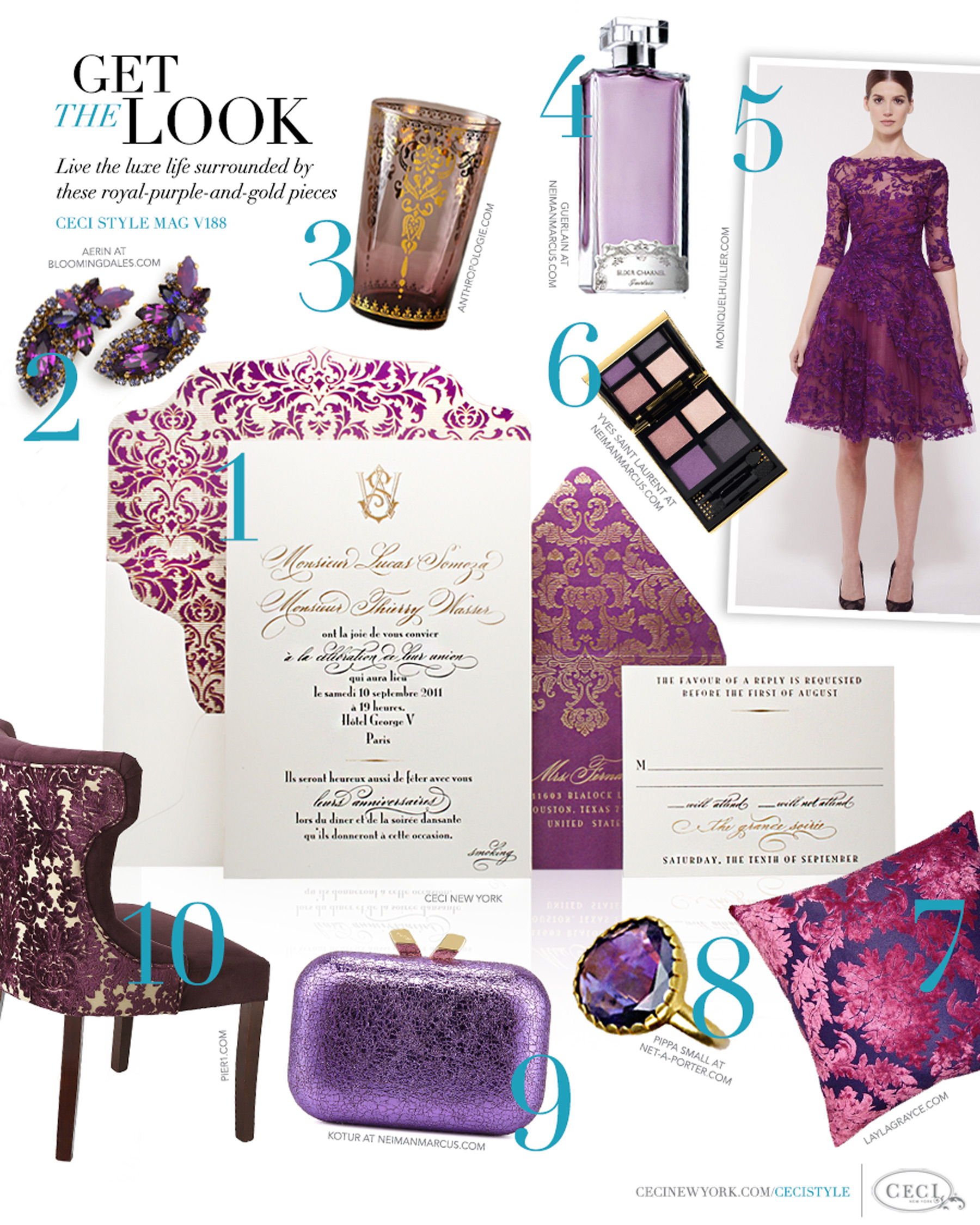 CeciStyle Magazine v188: Get The Look - Purple Reign - Live the luxe life surrounded by these royal-purple-and-gold pieces - Luxury Wedding Invitations by Ceci New York - invitation, ceci new york, aerin, jewelry, home goods, anthropologie.com, moniquelhuiller.com, yves saint laurent, fashion, geurlain, beauty, laylagrayce.com, pippa small, kotur, pier1.com, handbags