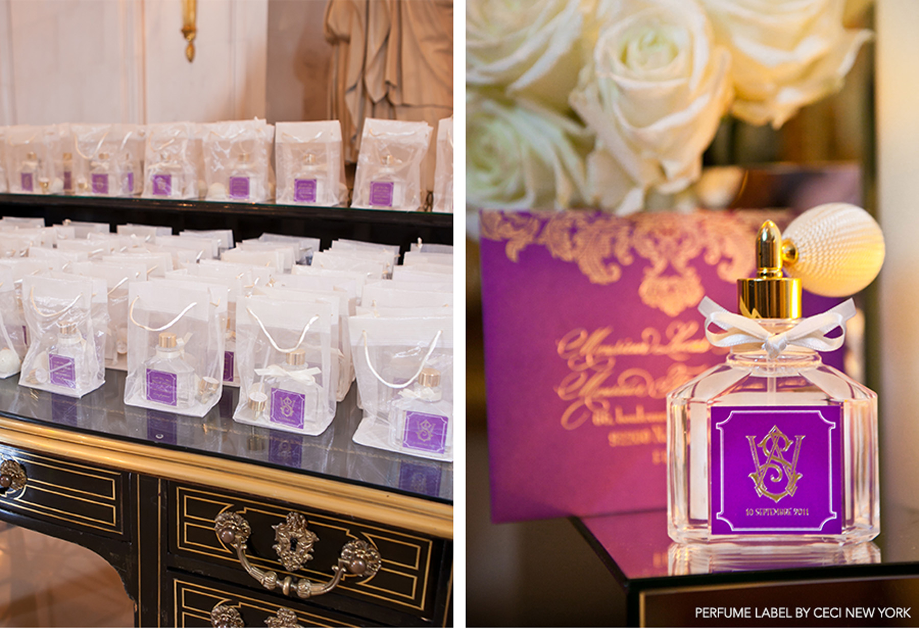 Our Muse - Paris Luxury Wedding - Be inspired by Lucas and Thierry's luxurious Paris wedding set in shades of elegant purple and gold - ceci new york, escort cards, perfume, unique escort cards, place cards, menus, gold, purple, foil stamping, laser-cut, favors, luxury, lucas somoza, wedding