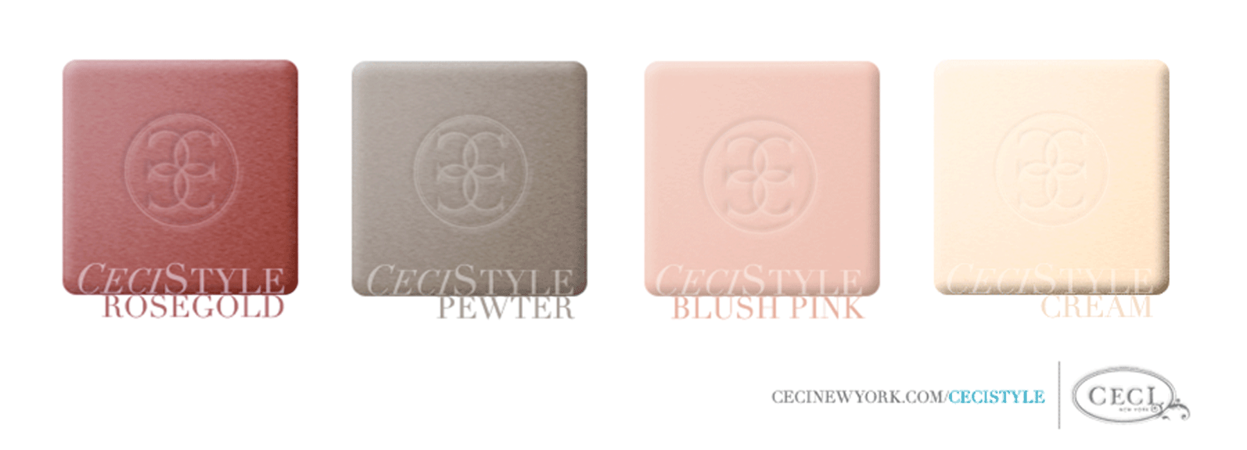 Ceci's Color Stories - Rose Gold & Blush Pink Wedding Colors - color swatches, rose gold, pewter, blush pink, cream, wedding