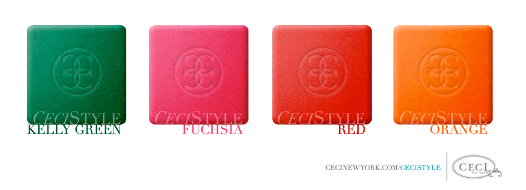 Ceci's Color Stories - Fuchsia & Red Wedding Colors - color swatches, kelly green, fuchsia, red, orange, wedding
