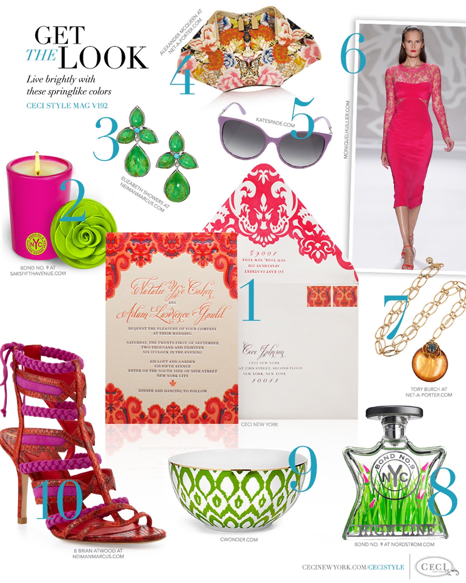 CeciStyle Magazine v192: Get The Look - Stop and Smell the Roses - Live brightly with these springlike colors - Luxury Wedding Invitations by Ceci New York - ceci new york, invitaitons, elizabeth showers, jewelry, bond no. 9, home goods, katespade.com, fashion, alexander mcqueen, handbags, moniquelhuillier.com, tory burch, cwonder.com, b. brian atwood, shoes