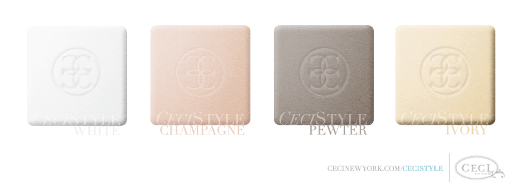 Ceci's Color Stories - White & Champagne Wedding Colors - color swatches, white, champagne, pewter, ivory, wedding