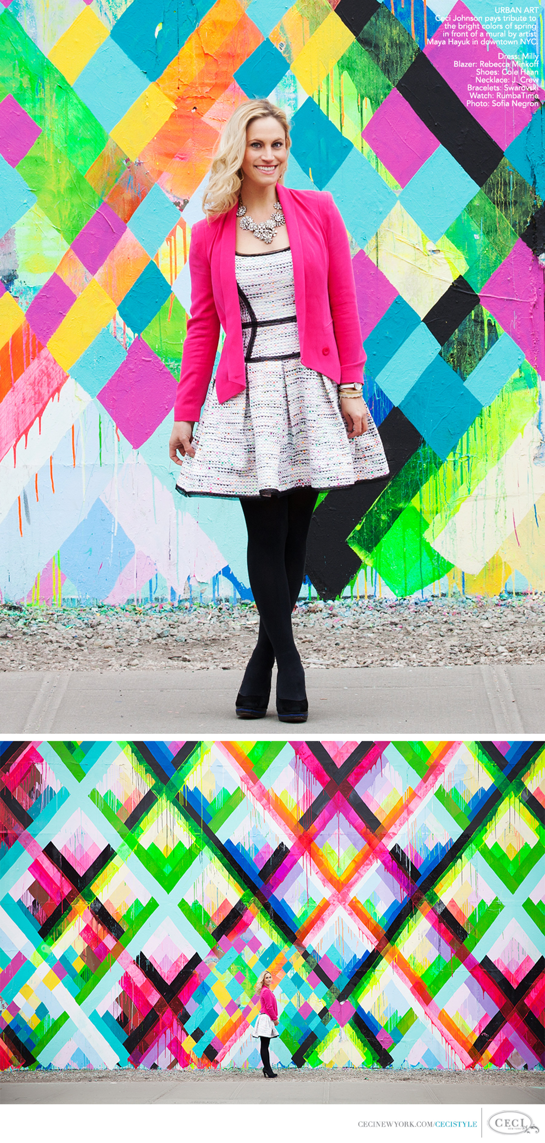 Ceci Johnson of Ceci New York - URBAN ART: Ceci Johnson pays tribute to the bright colors of spring in front of a mural by artist Maya Hayuk in downtown NYC. Photo: Sofia Negron. Dress: Milly. Blazer: Rebecca Minkoff. Shoes: Cole Haan. Necklace: J. Crew. Bracelets: Swarovski. Watch: RumbaTime.