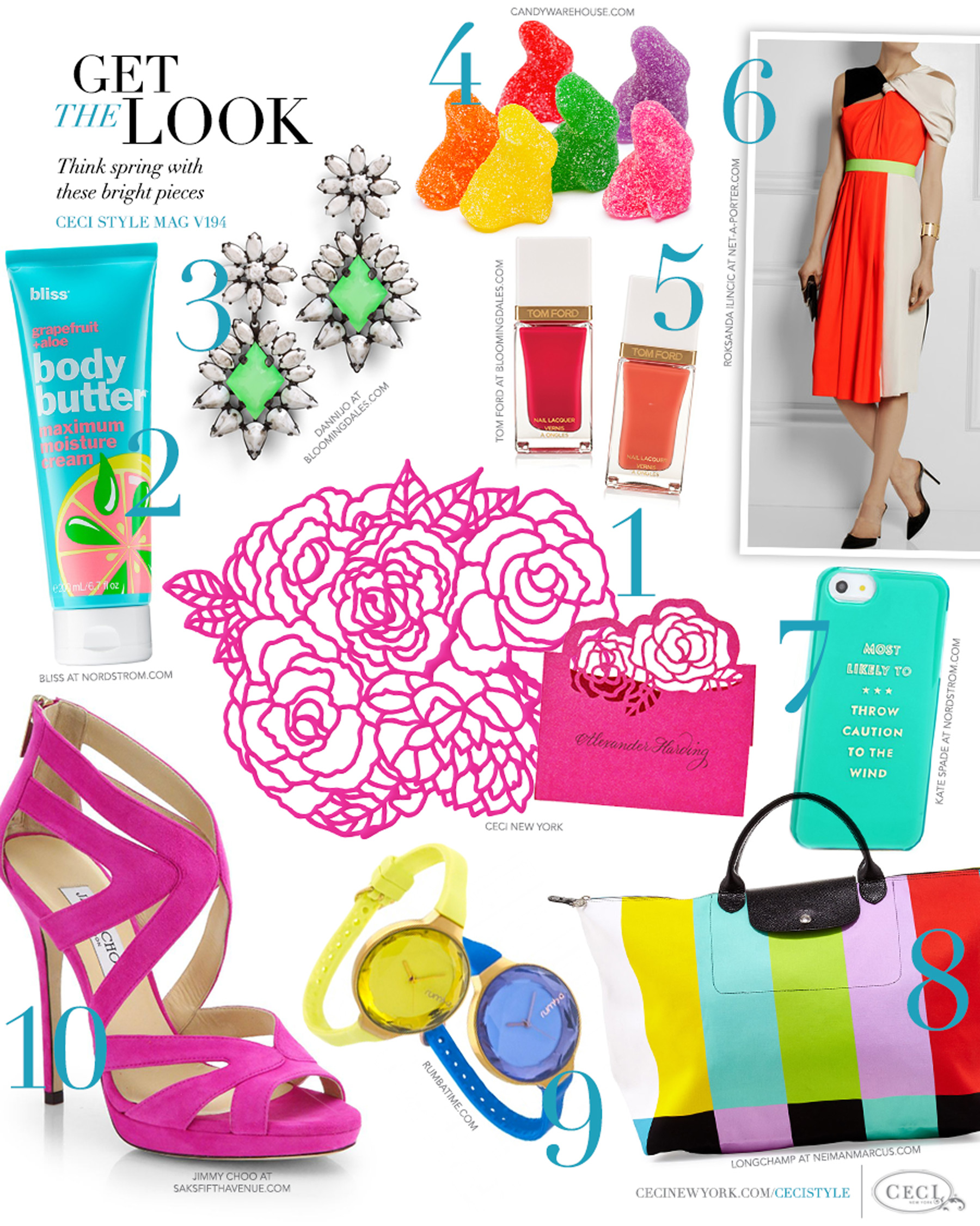 CeciStyle Magazine v194: Get The Look - Colors of Spring - Think spring with these bright pieces - Luxury Wedding Invitations by Ceci New York - bliss, beauty, dannijo, jewelry, ceci new york, placemat, tom ford, candywarehouse.com, roksanda ilincic, fashion, kate spade, longchamp, handbags, rumbatime, jimmy choo, shoes