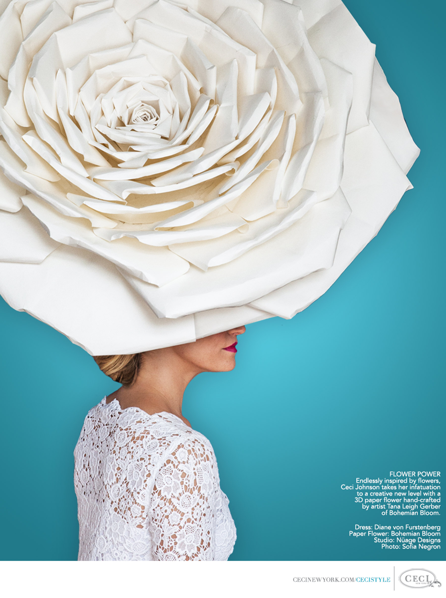 Ceci Johnson of Ceci New York - FLOWER POWER: Endlessly inspired by flowers, Ceci Johnson takes her infatuation to a creative new level with a 3D paper flower hand-crafted by artist Tana Leigh Gerber of Bohemian Bloom. Dress: Diane von Furstenberg. Paper Flower: Bohemian Bloom. Studio: Nuage Designs. Photo: Sofia Negron