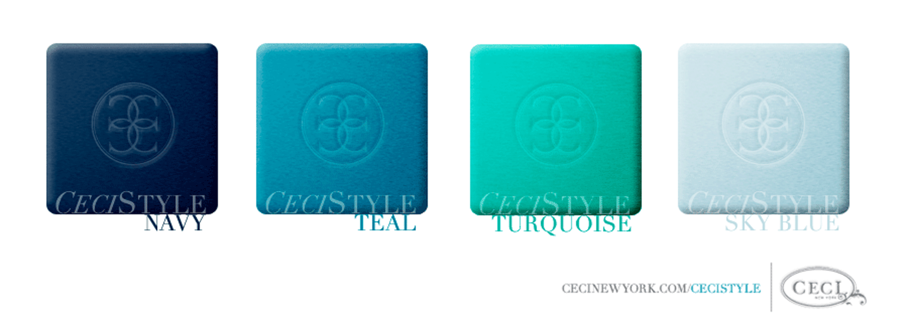 Ceci's Color Stories - Navy & Teal Wedding Colors - color swatches, navy, teal, turquoise, sky blue, wedding