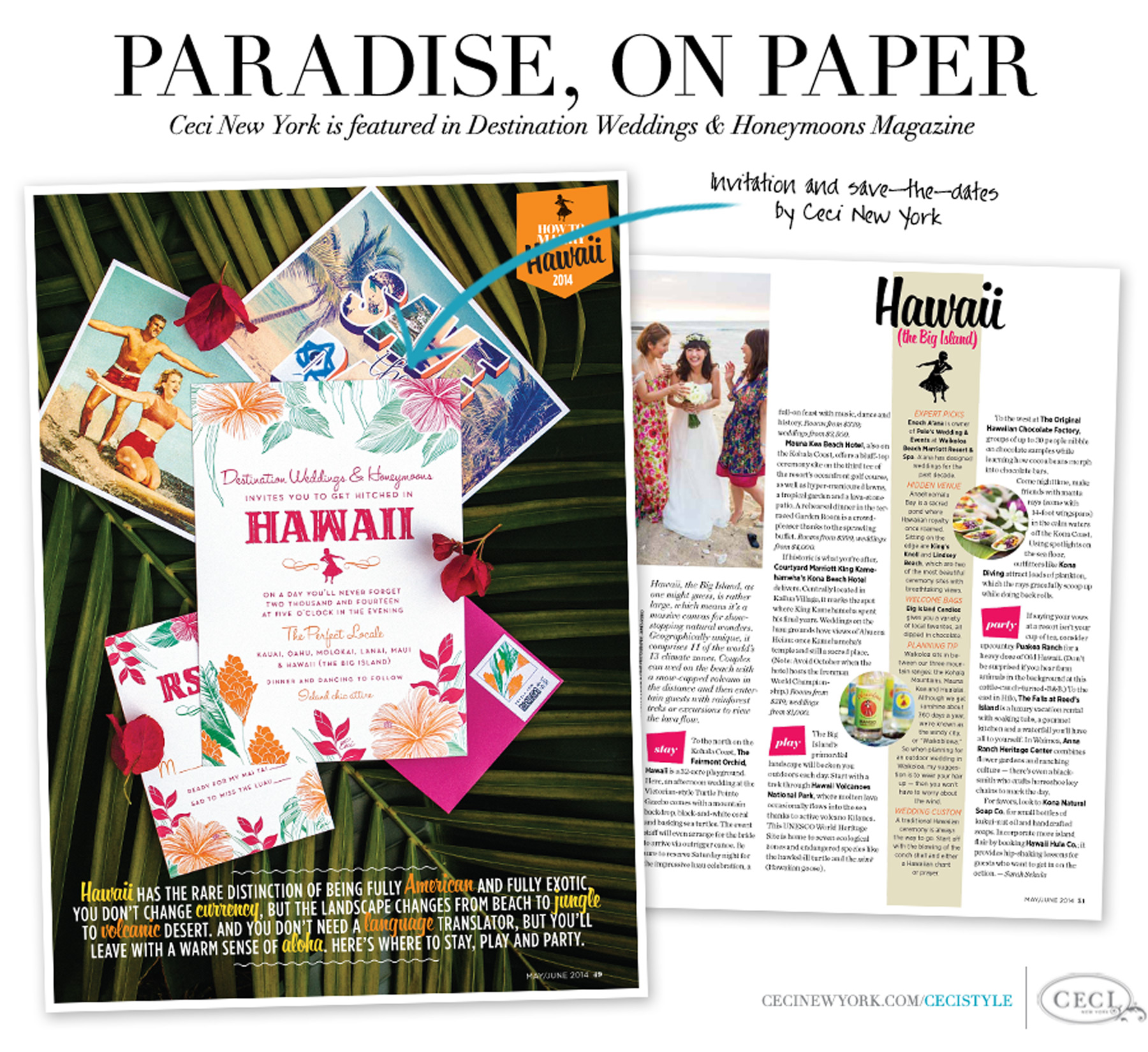 Paradise, On Paper - Ceci New York is featured in Destination Weddings & Honeymoons Magazine