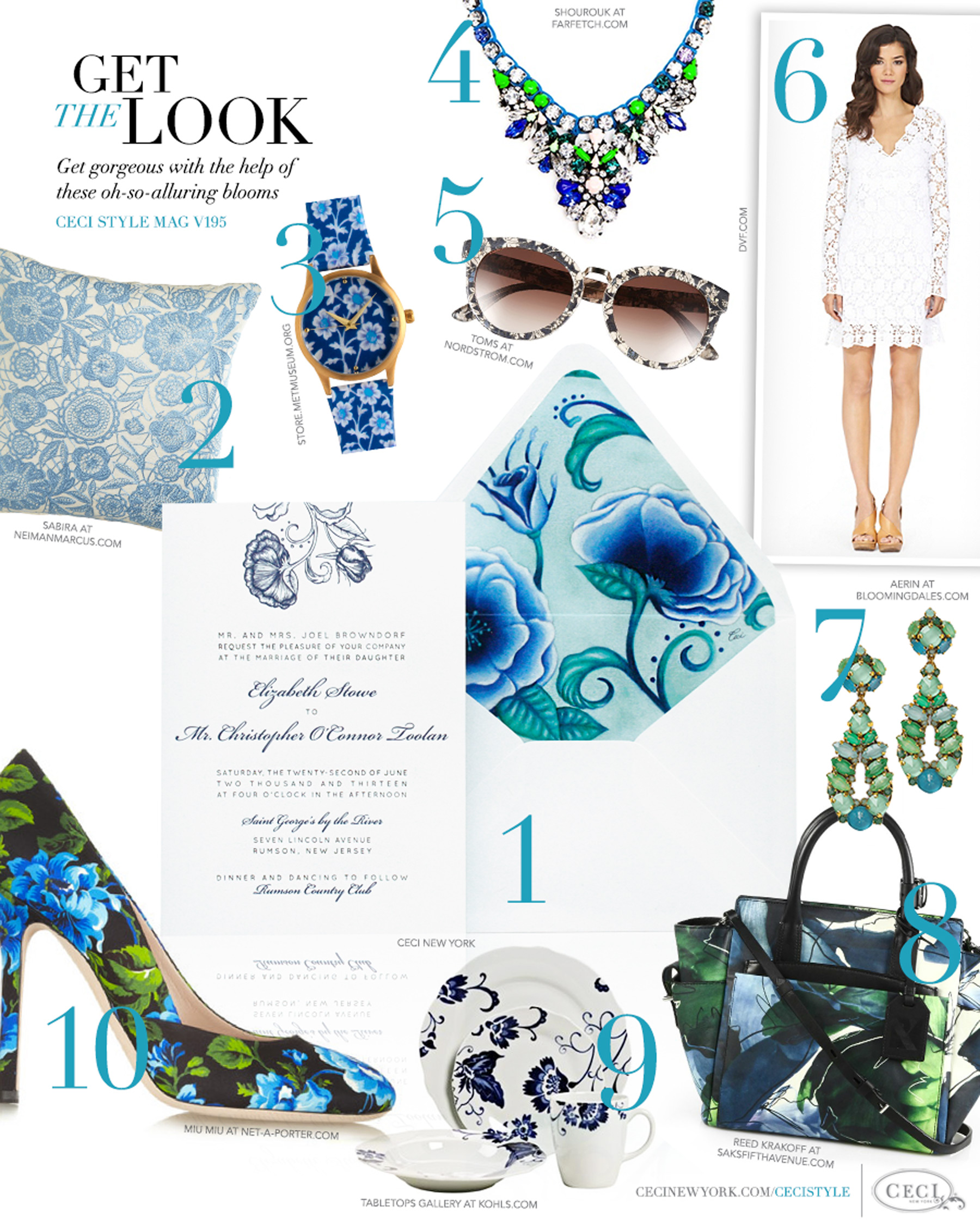CeciStyle Magazine v195: Get The Look - Garden Glamour - Get gorgeous with the help of these oh-so-alluring blues - Luxury Wedding Invitations by Ceci New York - neimanmarcus.com, home goods, store.metmuseum.org, jewelry, toms, shourouk, jewelry, dvf.com, fashion, aerin, reed krakoff, handbags, kohls.com, miu miu, shoes