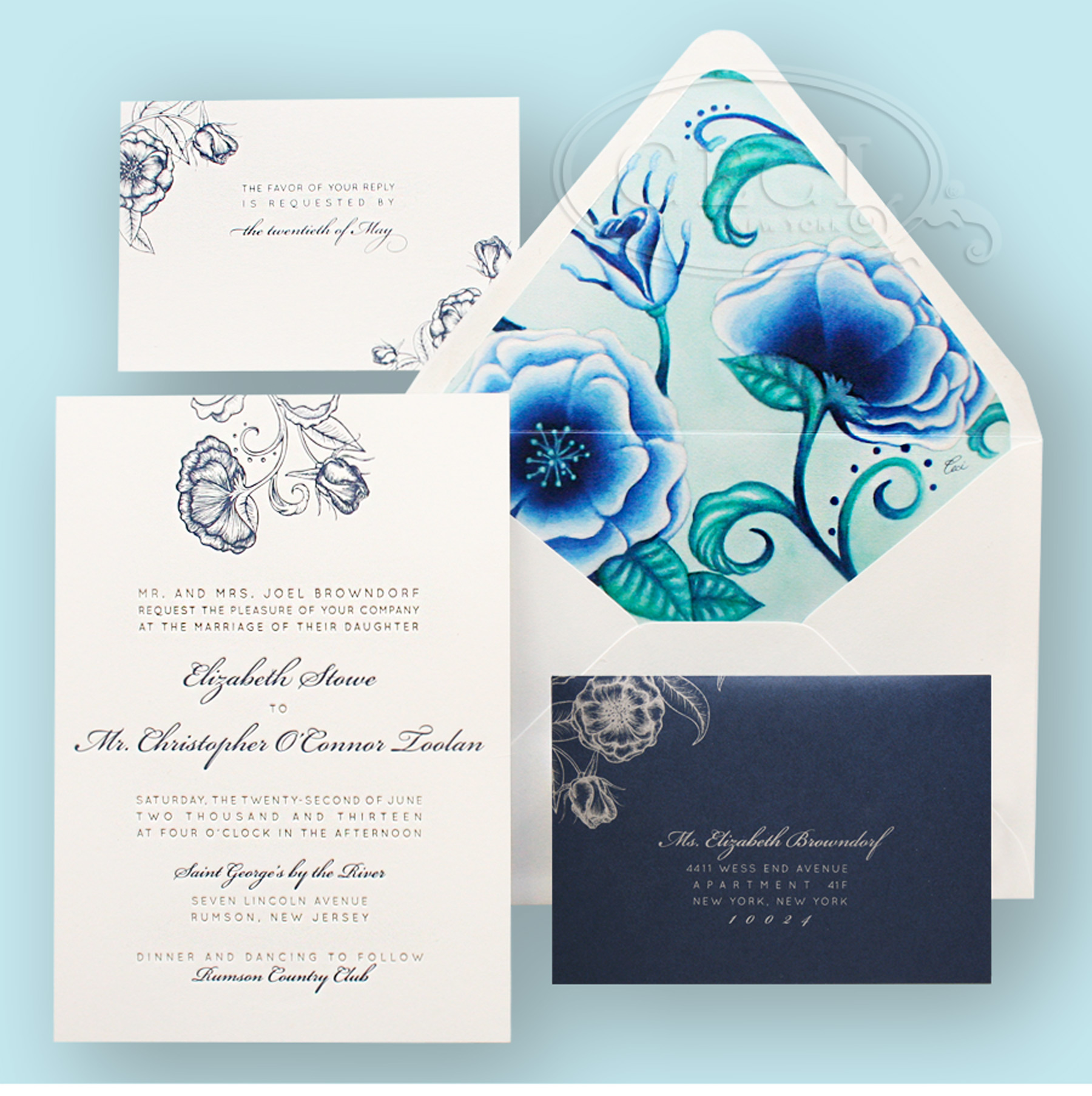 Luxury Wedding Invitations by Ceci New York - Our Muse - Romantic Traditional Wedding - Be inspired by Liz & Chris' romantic, traditional New Jersey wedding - wedding, letterpress, floral, invitation, luxury invitation, blue, green, flowers, watercolor, ceci johnson, ceci new york