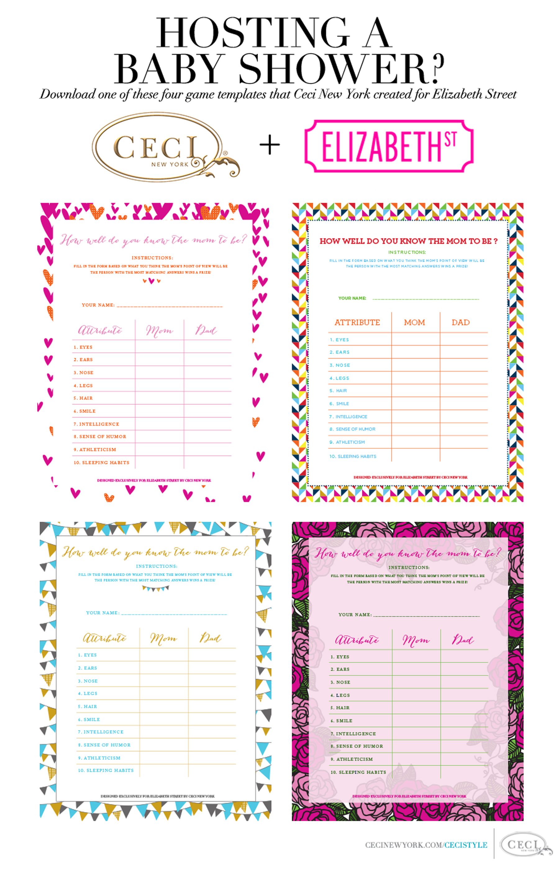 hosting a baby shower download one of these four game templates that