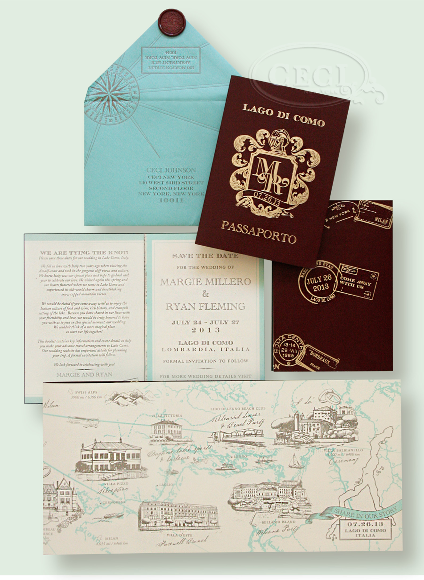 Luxury Wedding Invitations by Ceci New York - Our Muse - Luxurious Lake Como, Italy Wedding - Be inspired by Margie & Ryan's luxurious Lake Como wedding in scenic northern Italy - lake como, wedding, ceci new york, invitations, save-the-dates, luxury invitations, passport, teal, ivory, wax seal, letterpress printing, custom envelope, map, maroon