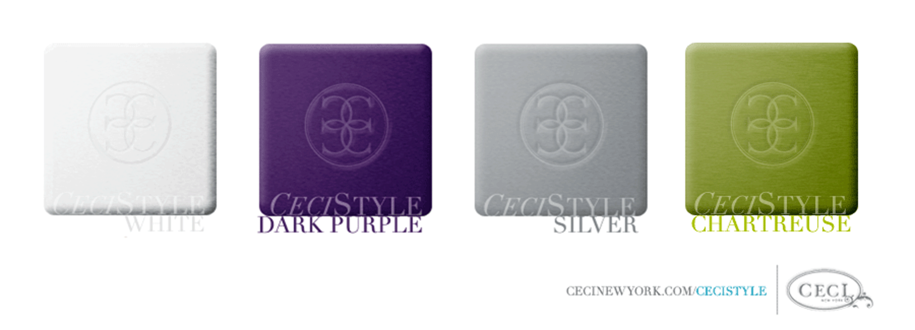 Ceci's Color Stories - Purple & Silver Wedding Colors - color swatches, white, dark purple, silver, chartreuse, wedding