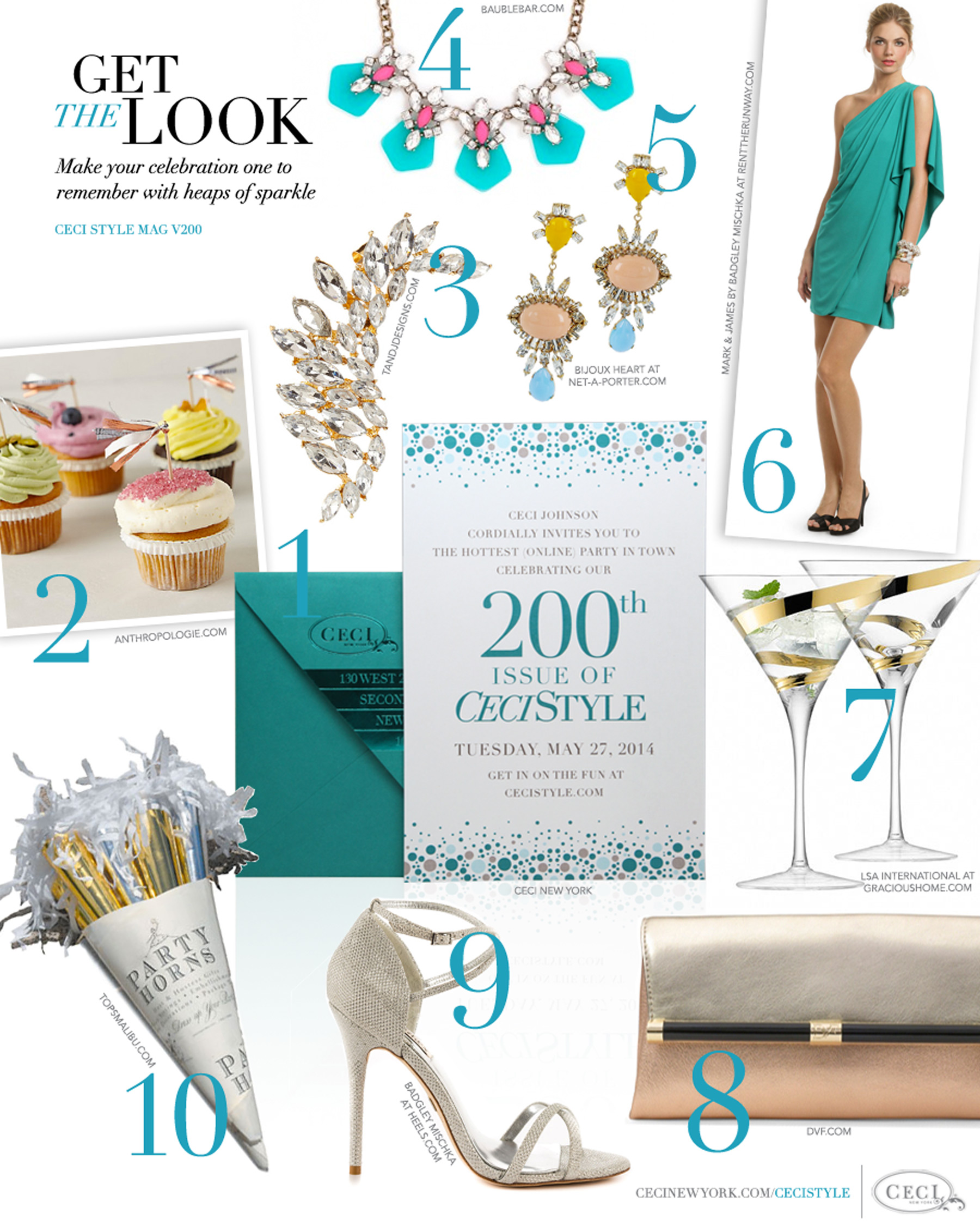 CeciStyle Magazine v200: Get The Look - Our 200th Issue - Make your celebration one to remember with heaps of sparkle - Luxury Wedding Invitations by Ceci New York - ceci new york, home goods, anthropologie, t&j designs, beauty, jewelry, fashion, shoes, food, handbags, baublebar, bijoux heart, mark & james, badgley mischka, malkia grand, diane von furstenberg, tops malibu