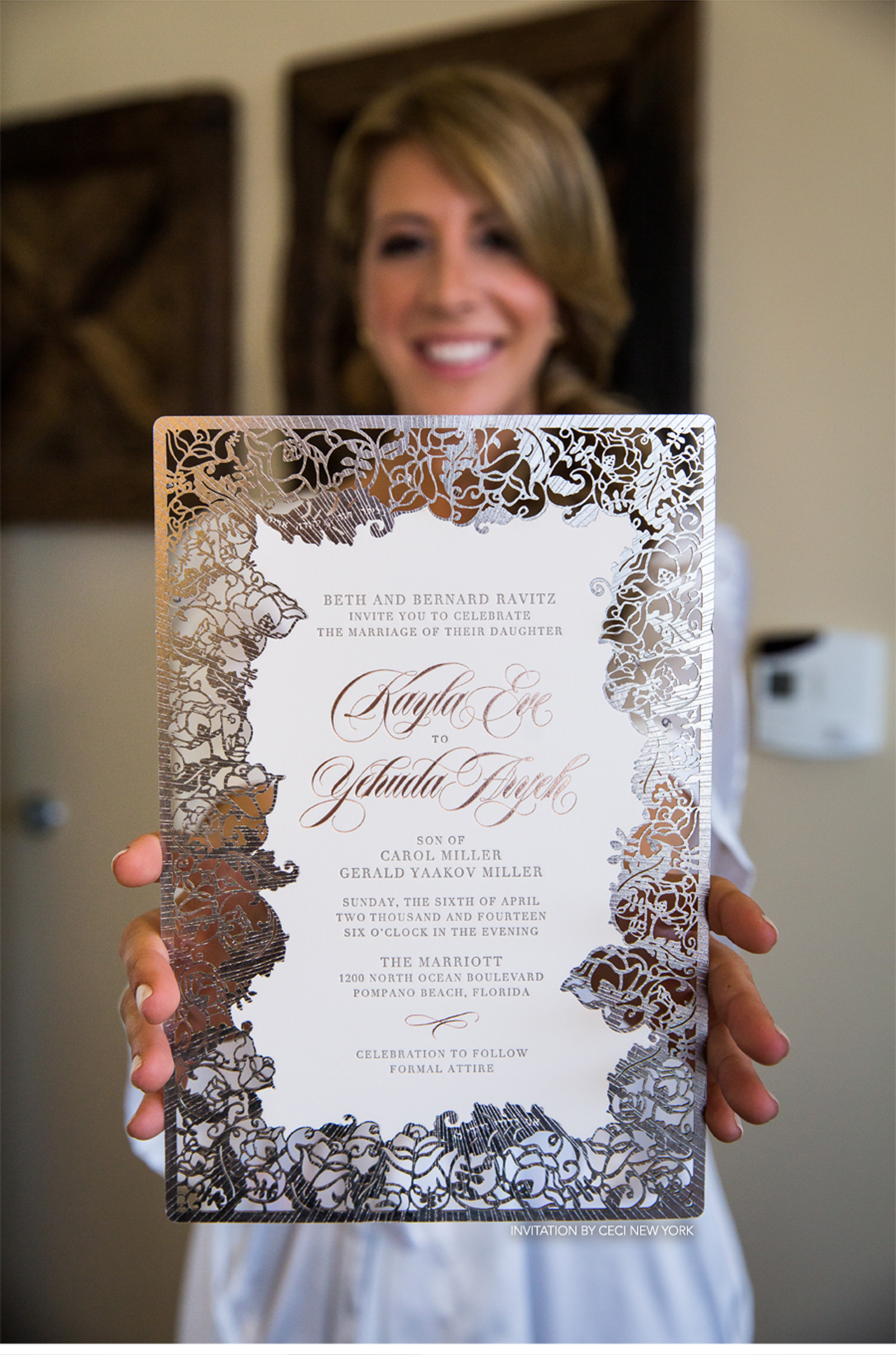 Our Muse - Blush and Pewter Wedding - Be inspired by Kayla and Hudi's blush-and-pewter wedding in Pompano Beach, Florida - wedding, invitation, getting ready, wedding dress, sparkles, bridesmaid dresses, bride, groom, rose gold, wedding rings, ceci bride, first look, beach, lasercut