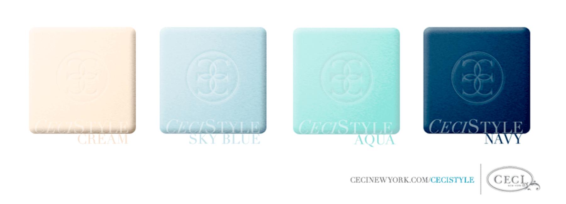 Ceci's Color Stories - Blue & Cream Wedding Colors - color swatches, cream, sky blue, aqua, navy, wedding