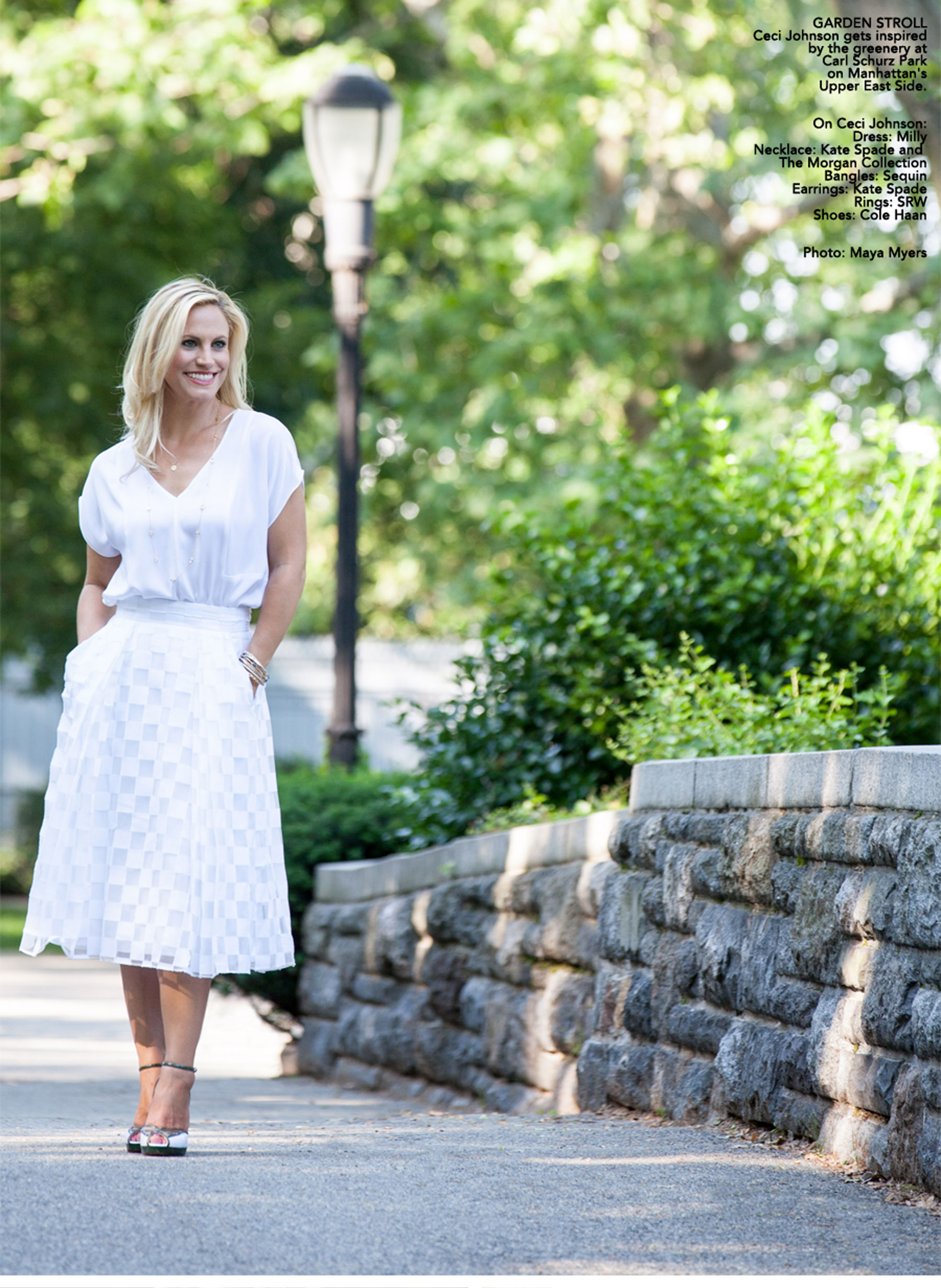 Ceci Johnson of Ceci New York - GARDEN STROLL: Ceci Johnson gets inspired by the greenery at Carl Schurz Park on Manhattan's Upper East Side. On Ceci Johnson: Dress: Milly. Necklace: Kate Spade and The Morgan Collection.  Bangles: Sequin. Earrings: Kate Spade. Rings: SRW. Shoes: Cole Haan. Photo: Maya Myers