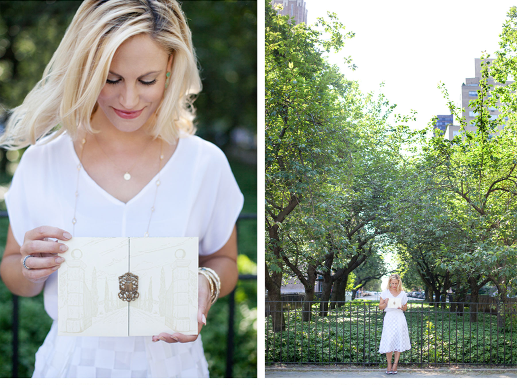 Ceci Johnson of Ceci New York - GARDEN STROLL: Ceci Johnson gets inspired by the greenery at Carl Schurz Park in Manhattan's Upper East Side. On Ceci Johnson: Dress: Milly. Necklace: Kate Spade and The Morgan Collection.  Bangles: Sequin. Earrings: Kate Spade. Rings: SRW. Shoes: Cole Haan. Photo: Maya Myers