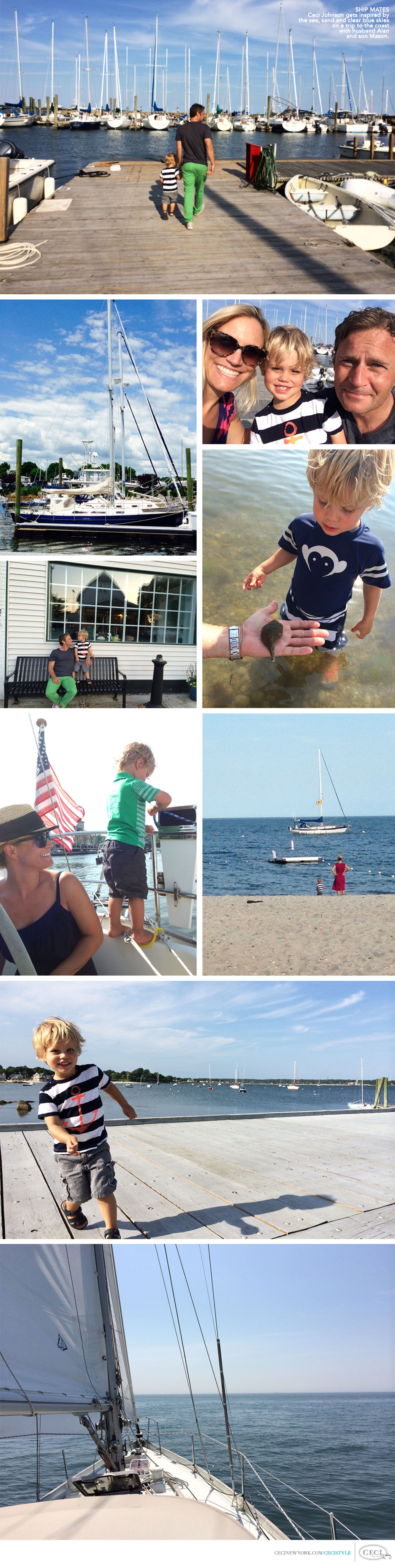 Ceci Johnson of Ceci New York - SHIP MATES: Ceci Johnson gets inspired by the sea, sand and clear blue skies on a trip to the coast with husband Alan and son Mason.