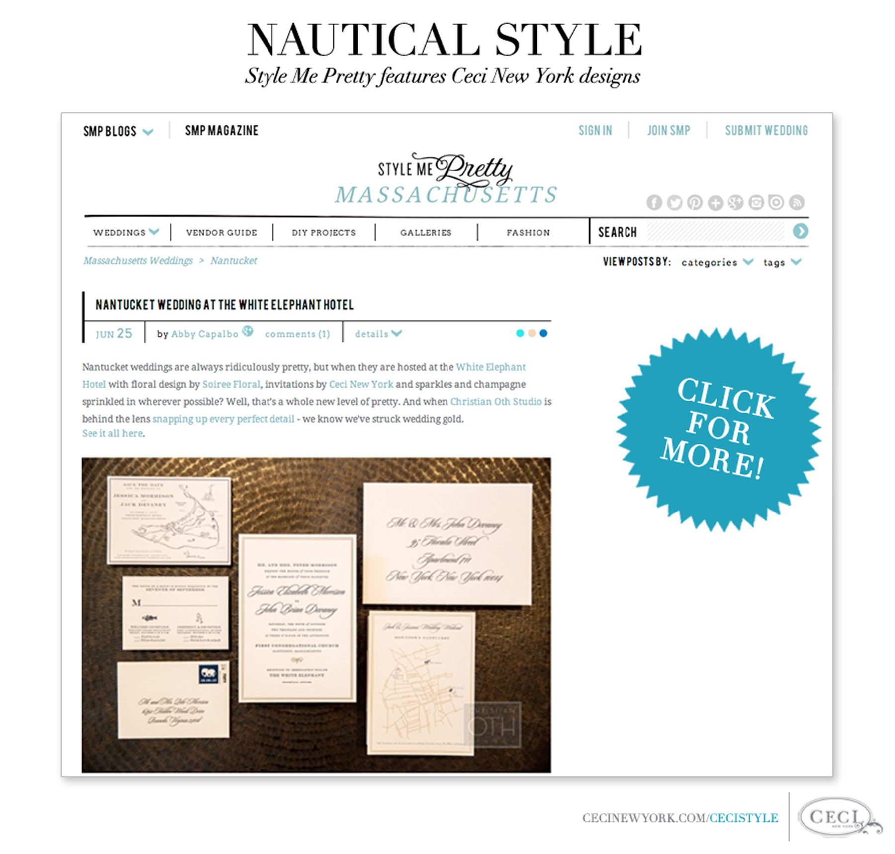 Nautical Style - Style Me Pretty features Ceci New York designs
