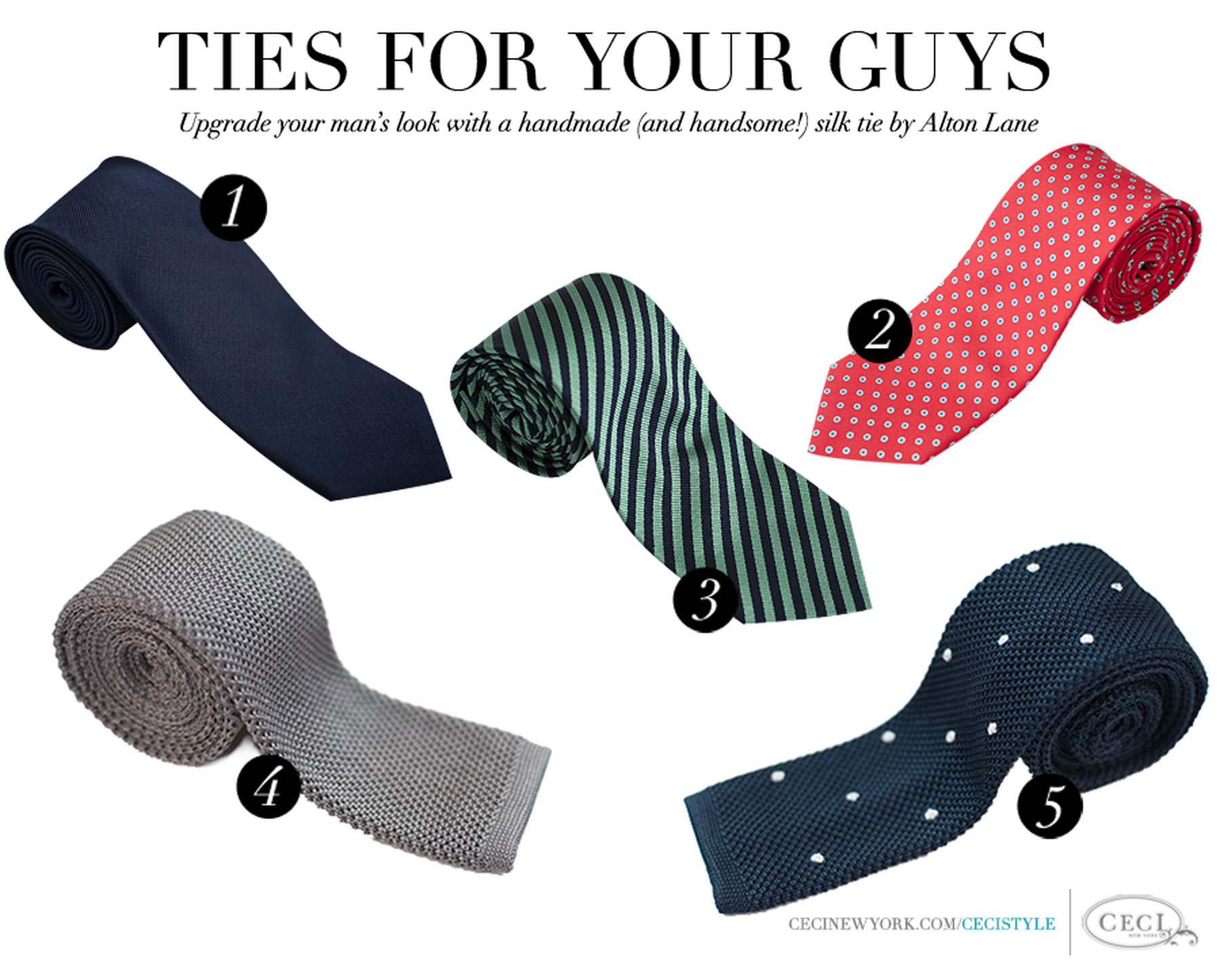 Ties for Your Guys - Upgrade your man's look with a handmade (and handsome!) silk tie by Alton Lane