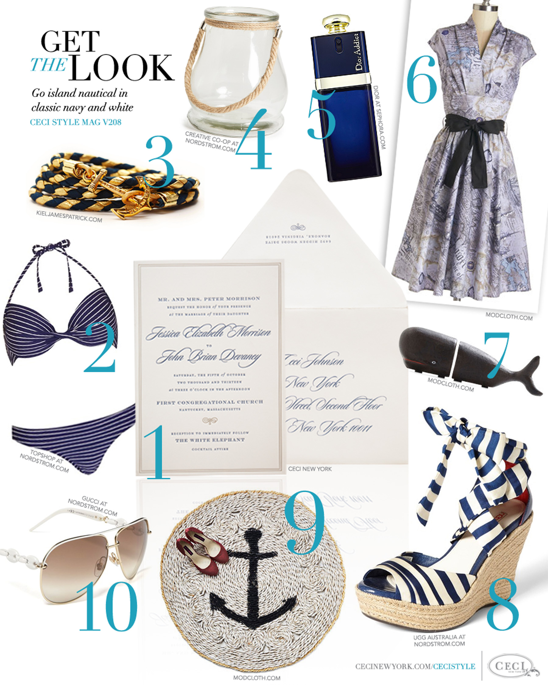 CeciStyle Magazine v208: Get The Look - Nantucket Nautical - Go island nautical in classic navy and white - Luxury Wedding Invitations by Ceci New York - gucci, modcloth, rug, ugg, whale, nautical, gifts, dior, creative co-op, kiel james patrick, topshop, ceci new york, invitation, wedding, home goods, beauty, jewelry, fashion, shoes, food, handbags, bookend