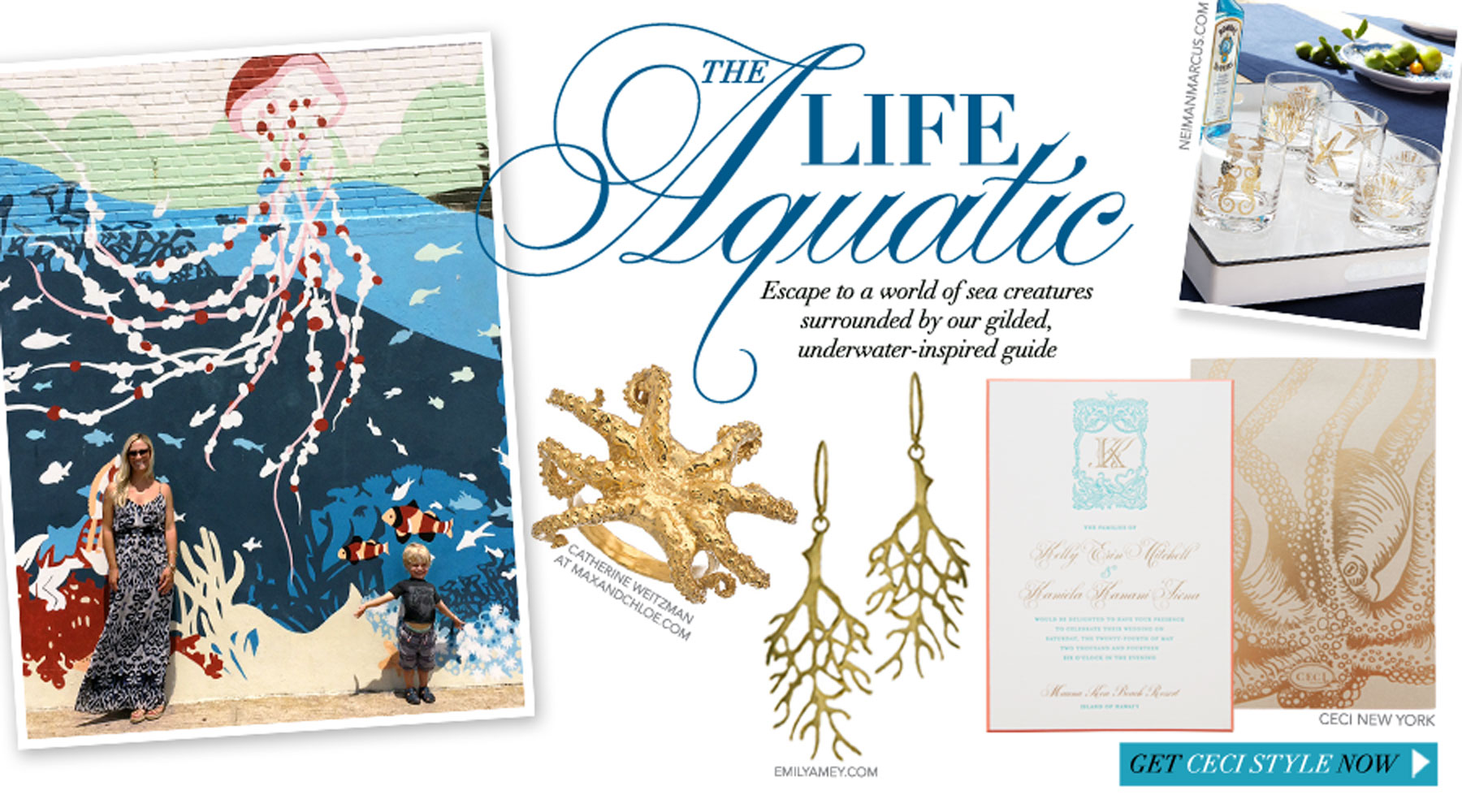 The Life Aquatic - Escape to a world of sea creatures surrounded by our gilded, underwater-inspired guide