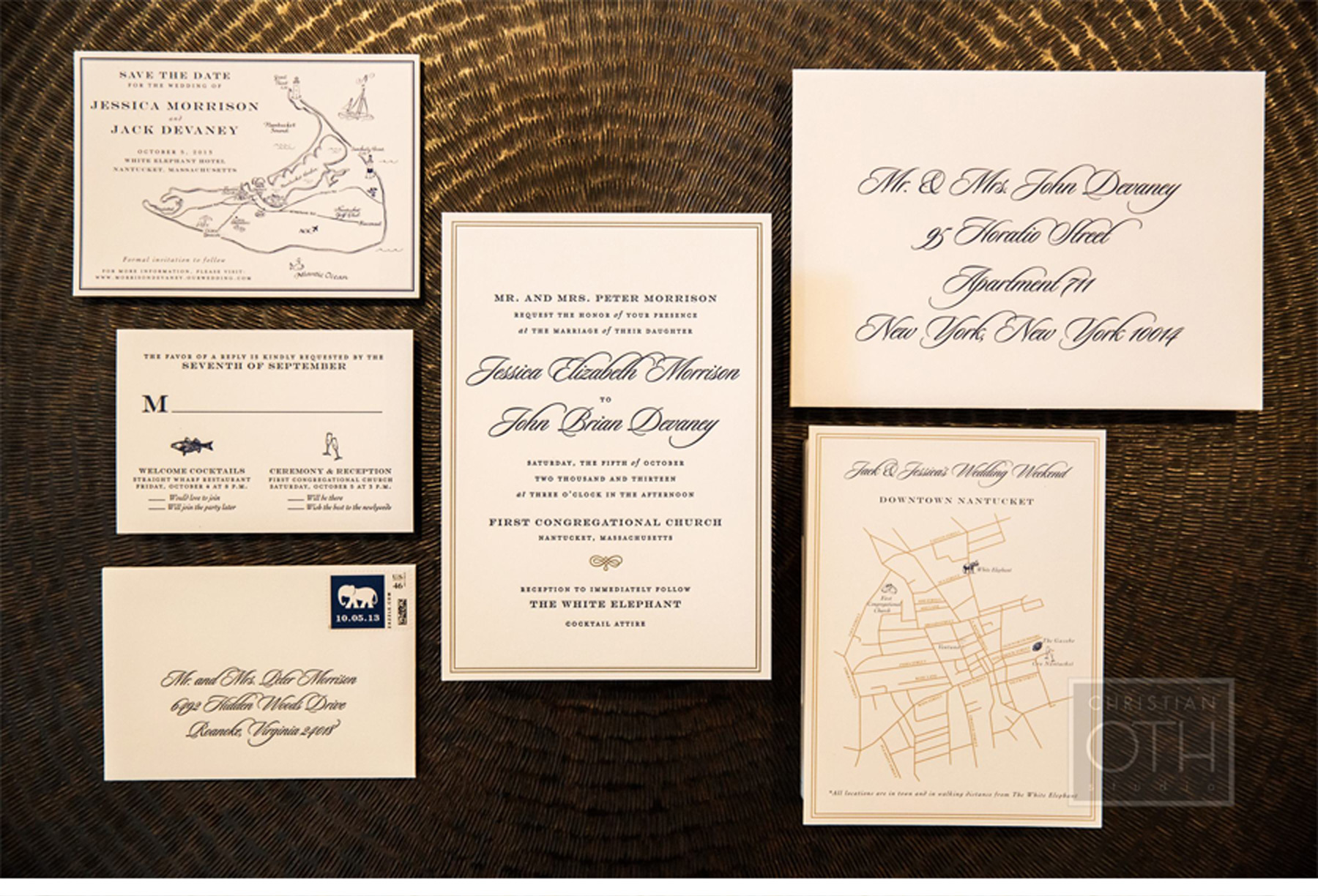 Our Muse - Navy Nantucket Wedding - Be inspired by Jessica & John's navy blue Nantucket wedding - letterpress, invitation, welcome note, save the date, offset, flat, printing, welcome bag, cape cod, nantucket, bridesmaid dress, jimmy choo, bean bag, groomsmen, getting ready, new england, wedding, massachusetts, navy blue
