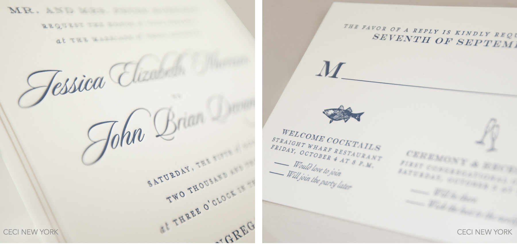 Luxury Wedding Invitations by Ceci New York - Our Muse - Navy Nantucket Wedding - Be inspired by Jessica & John's navy blue Nantucket wedding - Ceci New York Luxury Wedding Invitations - letterpress, navy, blue, gold, nantucket, massachusetts, new england, wedding