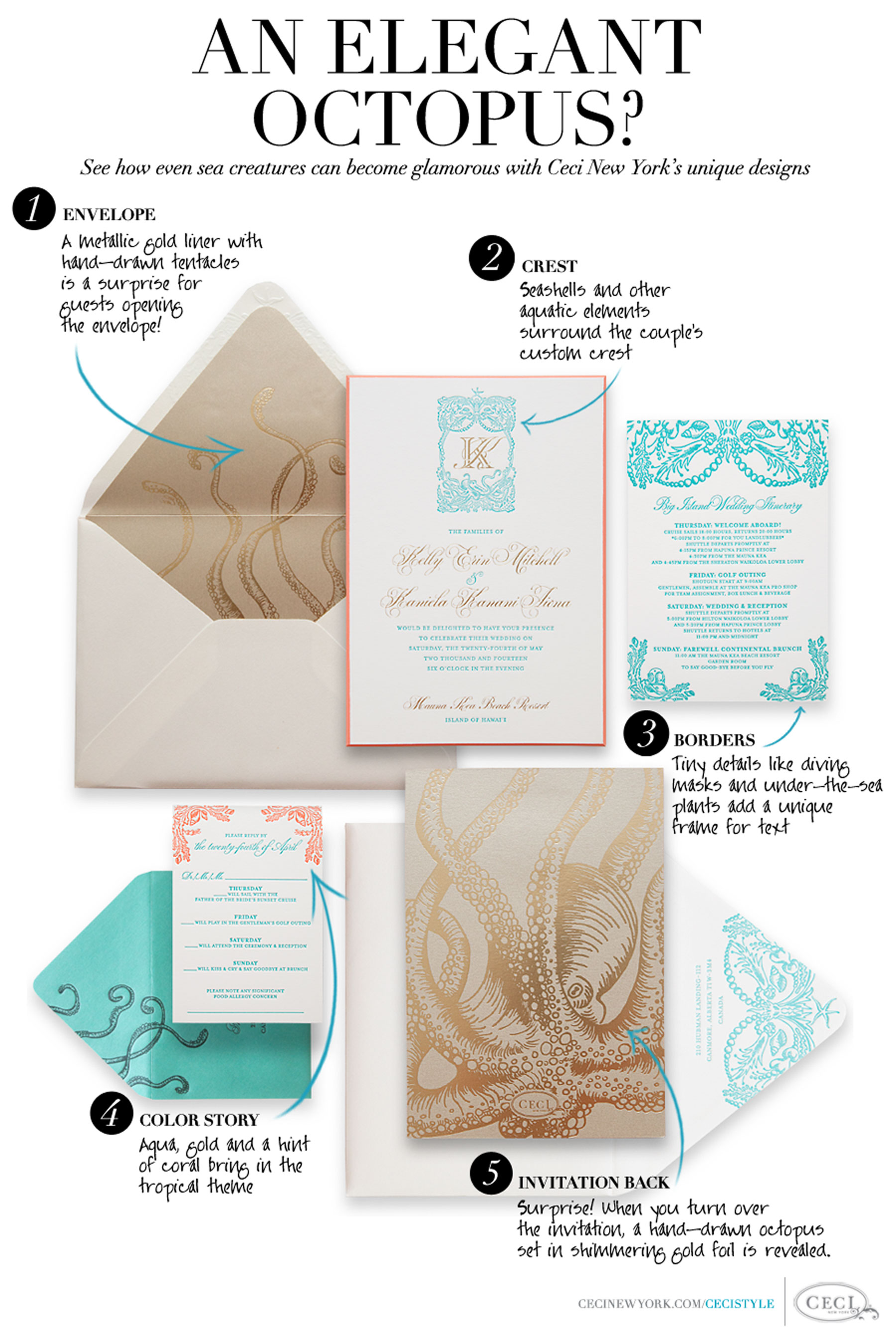 An Elegant Octopus? See how even sea cratures can become glamorous with Ceci New York's unique designs. 1. Envelope: A metallic gold liner with hand-drawn tentacles is a surprise for guests opening it! 2. Monogram: Seashells and other aquatic elements surround the couple's custom monogram. 3. Borders: Tiny details like diving masks and under-the-sea plants add a unique frame for text. 4. Color Story: Aqua, gold and a hint of coral bring in the tropical theme. 5. Invitation Back: Surprise! When you turn over the invitation, a hand-drawn octopus set in shimmering gold foil is revealed.