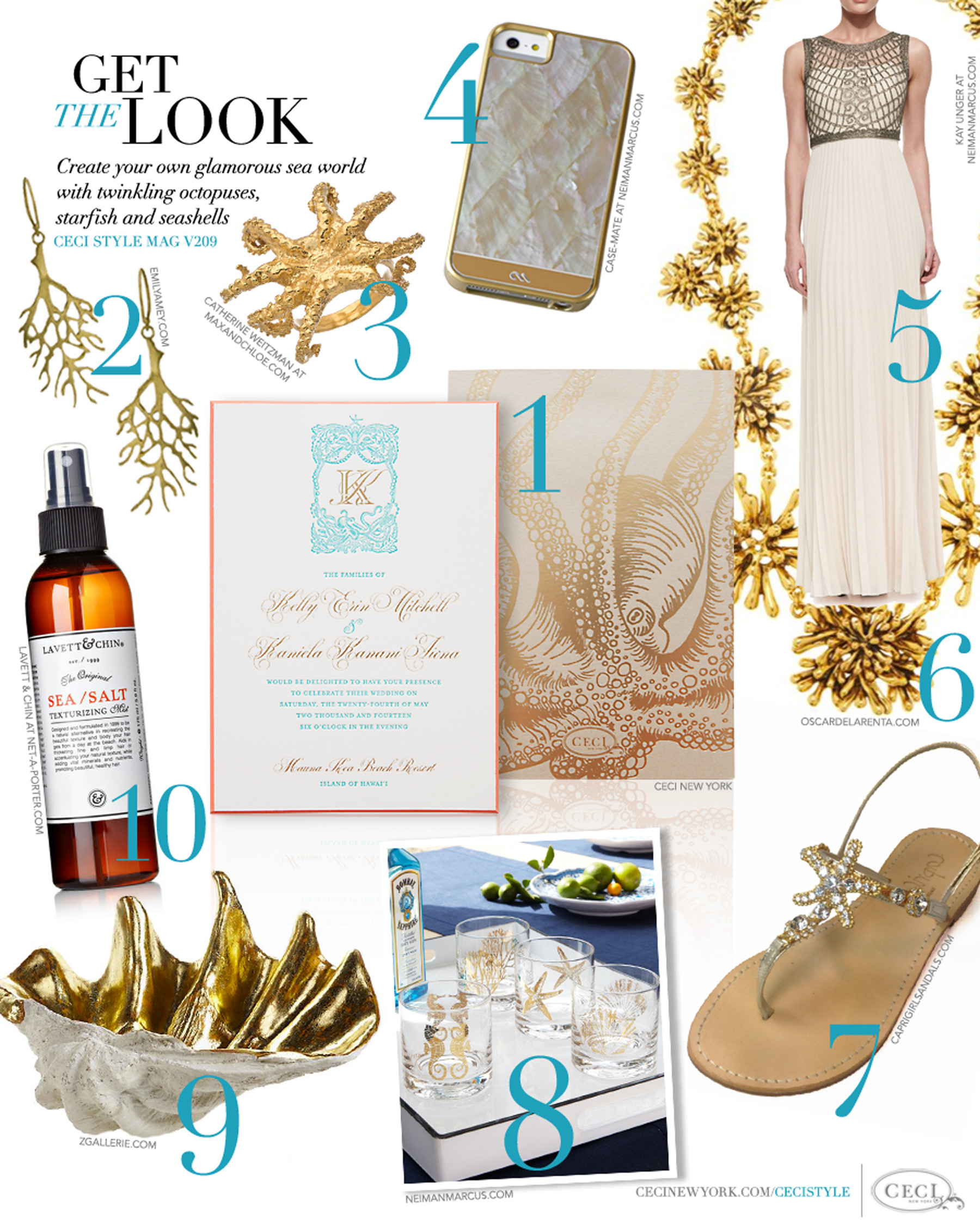 CeciStyle Magazine v209: Get The Look - The Life Aquatic - Create your own glamorous sea world with twinkling octopuses, starfish and seashells - Luxury Wedding Invitations by Ceci New York - ceci new york, invitations, emily amey, gifts, wedding, luxury, max and chloe, catherine weitzman, mother of pearl, oscar de la renta, caprigirls, zgallerie, lavett & chin, home goods, beauty, jewelry, fashion, shoes, handbags, books