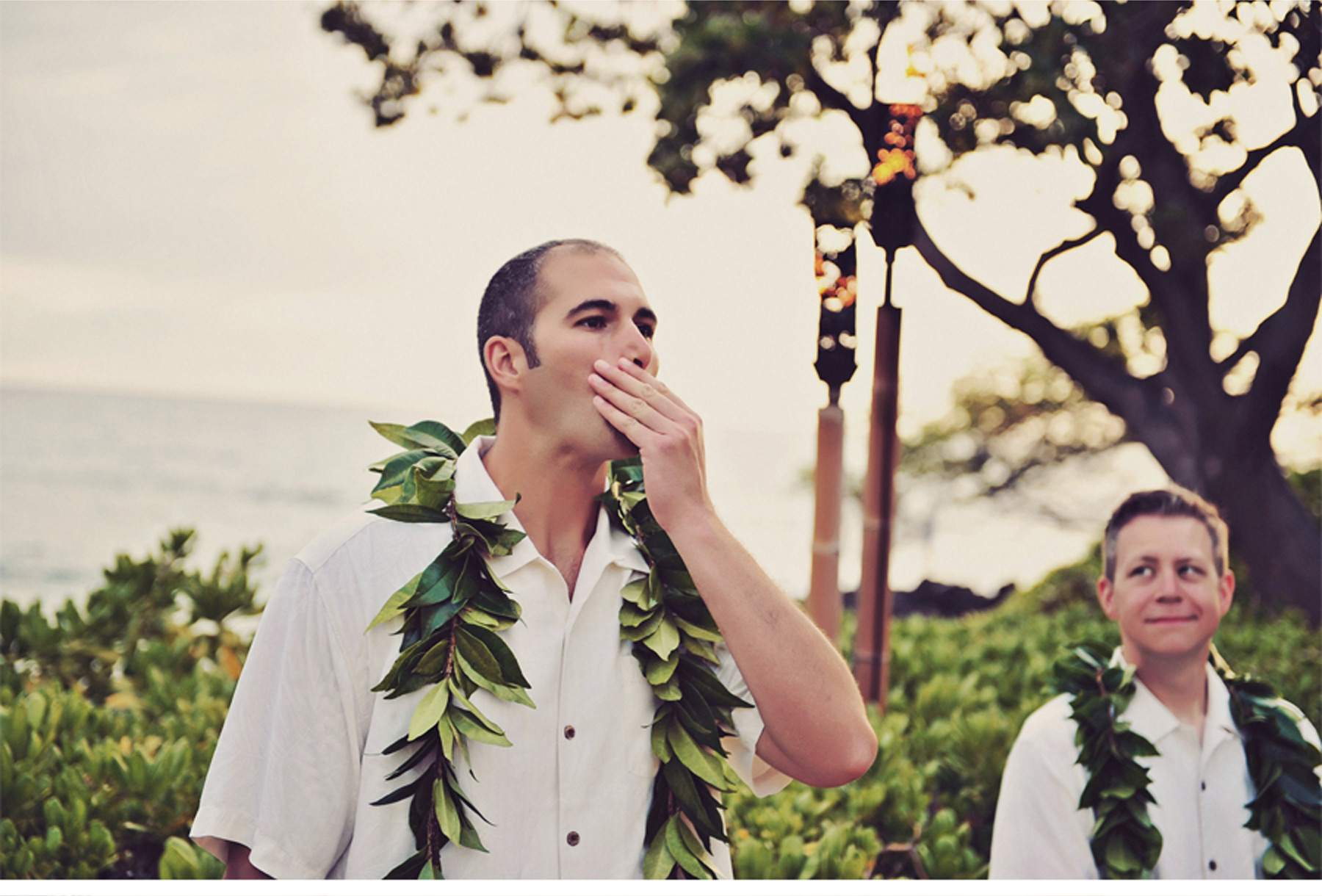 Our Muse - Tropical Hawaiian Wedding - Be inspired by Kelly & Kaniela's tropical, vintage Hawaiian wedding - beach, mauna kea beach hotel, lei, vintage, hawaii, big island, wedding, portraits, ceci new york, custom crest, custom monogram