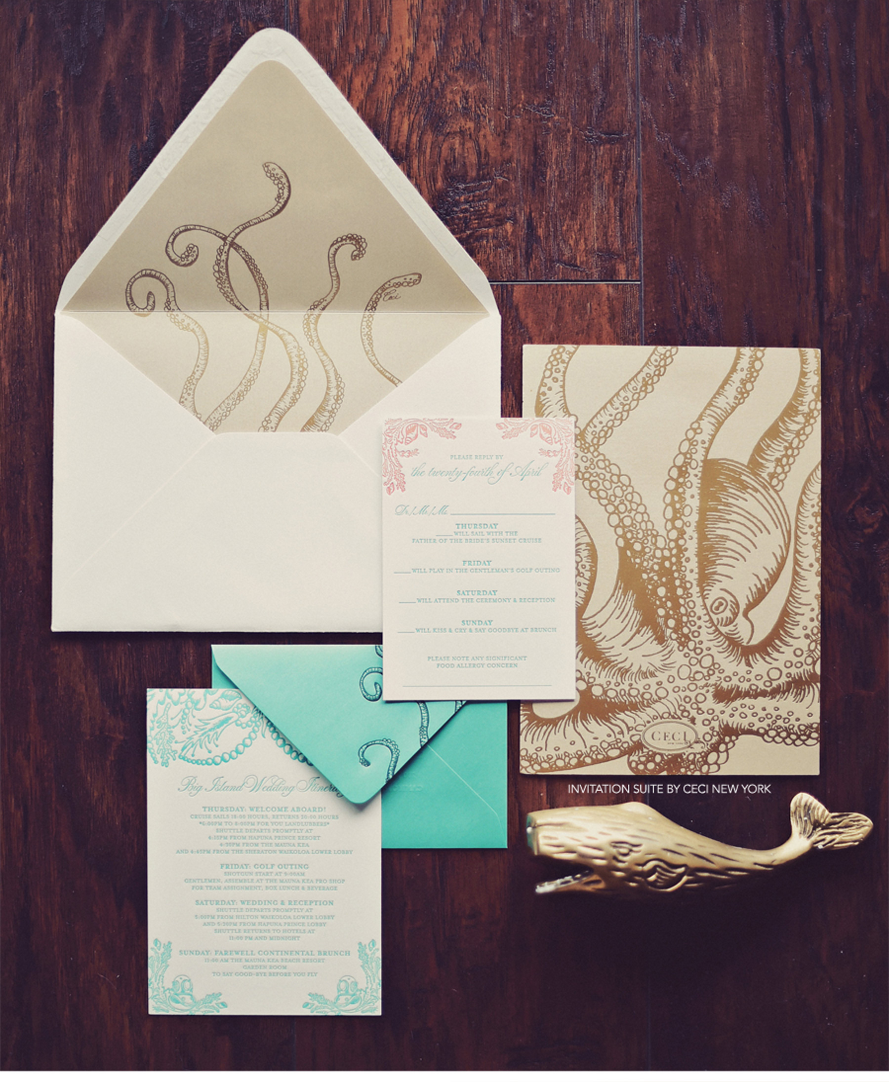 Our Muse - Tropical Hawaiian Wedding - Be inspired by Kelly & Kaniela's tropical, vintage Hawaiian wedding - octopus, aquatic, tropical, gold, wedding, invitation, ceci new york, crest, rings, getting ready, dress, shoes, portrait, bridesmaid, hawaii, big island, lei, groomsmen