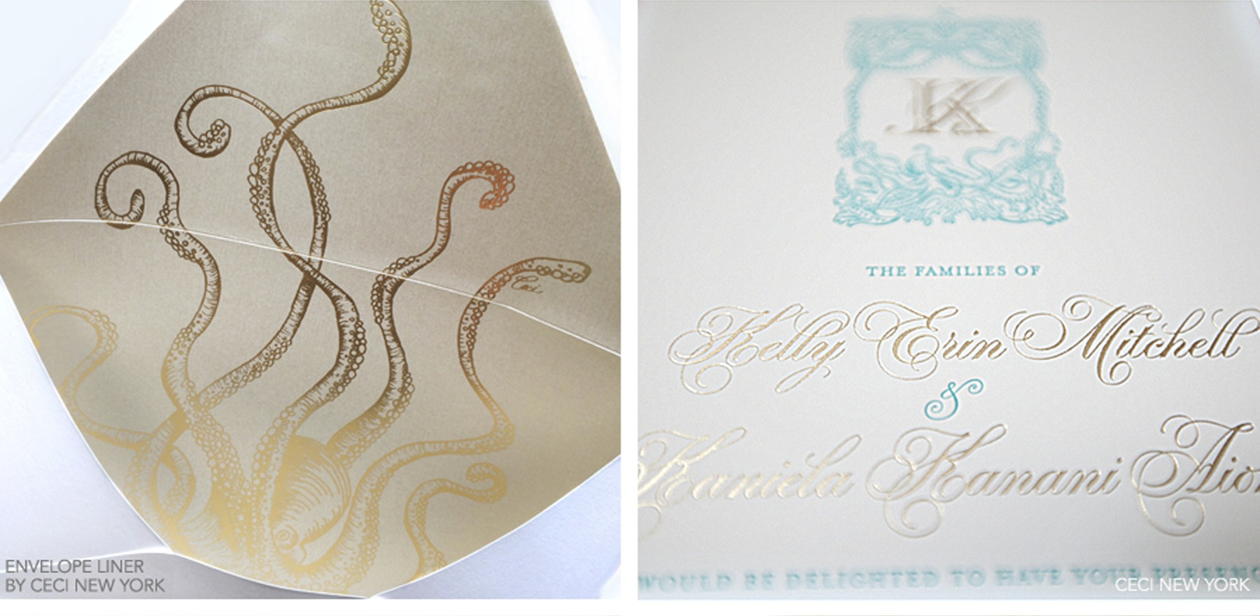 Luxury Wedding Invitations by Ceci New York - Our Muse - Tropical Hawaiian Wedding - Be inspired by Kelly & Kaniela's tropical, vintage Hawaiian wedding - Ceci New York Luxury Wedding Invitations - letterpress, printed, foil stamp, beveled edge, tinted edge, crest, octopus, invitation, luxury, wedding, hawaii, sea, shimmer