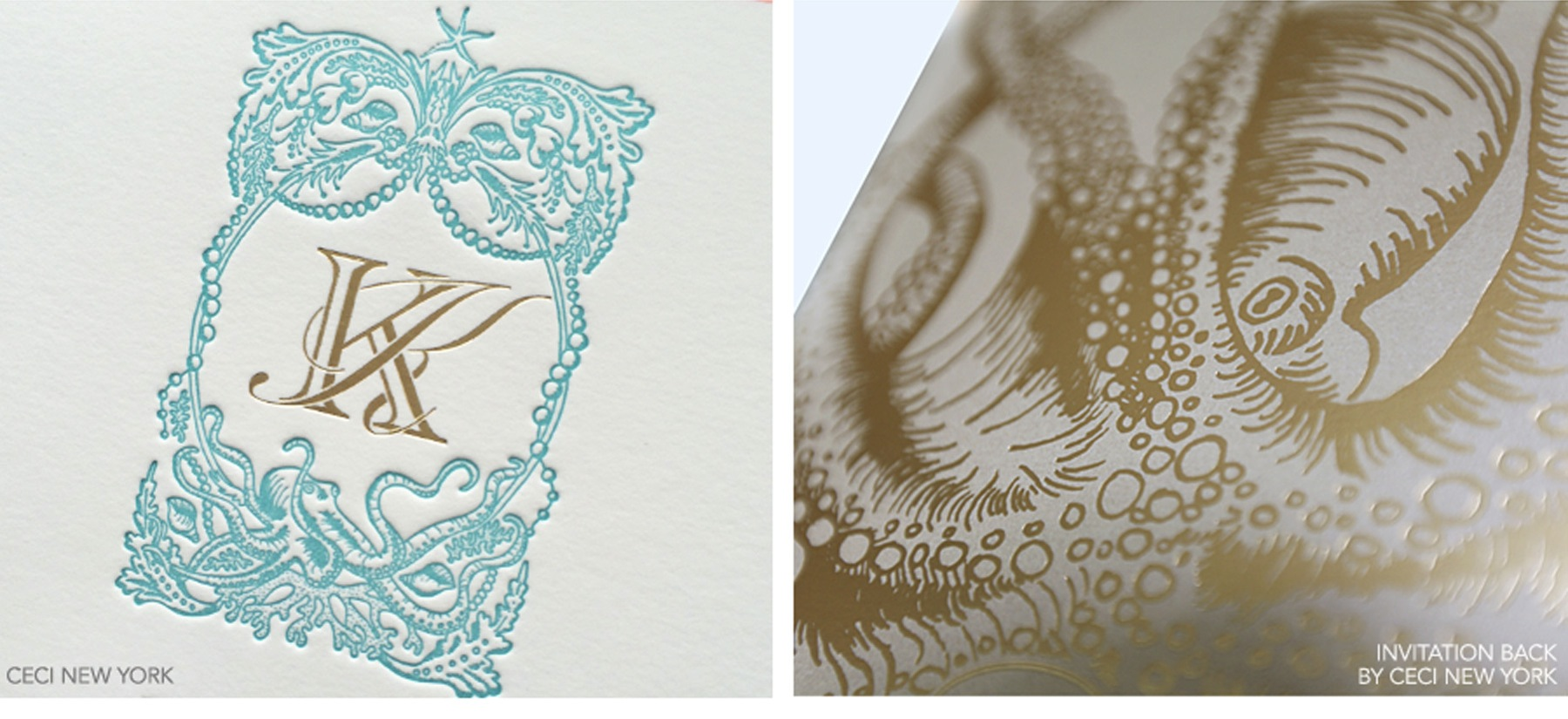 Luxury Wedding Invitations by Ceci New York - Our Muse - Tropical Hawaiian Wedding - Be inspired by Kelly & Kaniela's tropical, vintage Hawaiian wedding - letterpress, printed, foil stamp, beveled edge, tinted edge, crest, octopus, invitation, luxury, wedding, hawaii, sea, shimmer