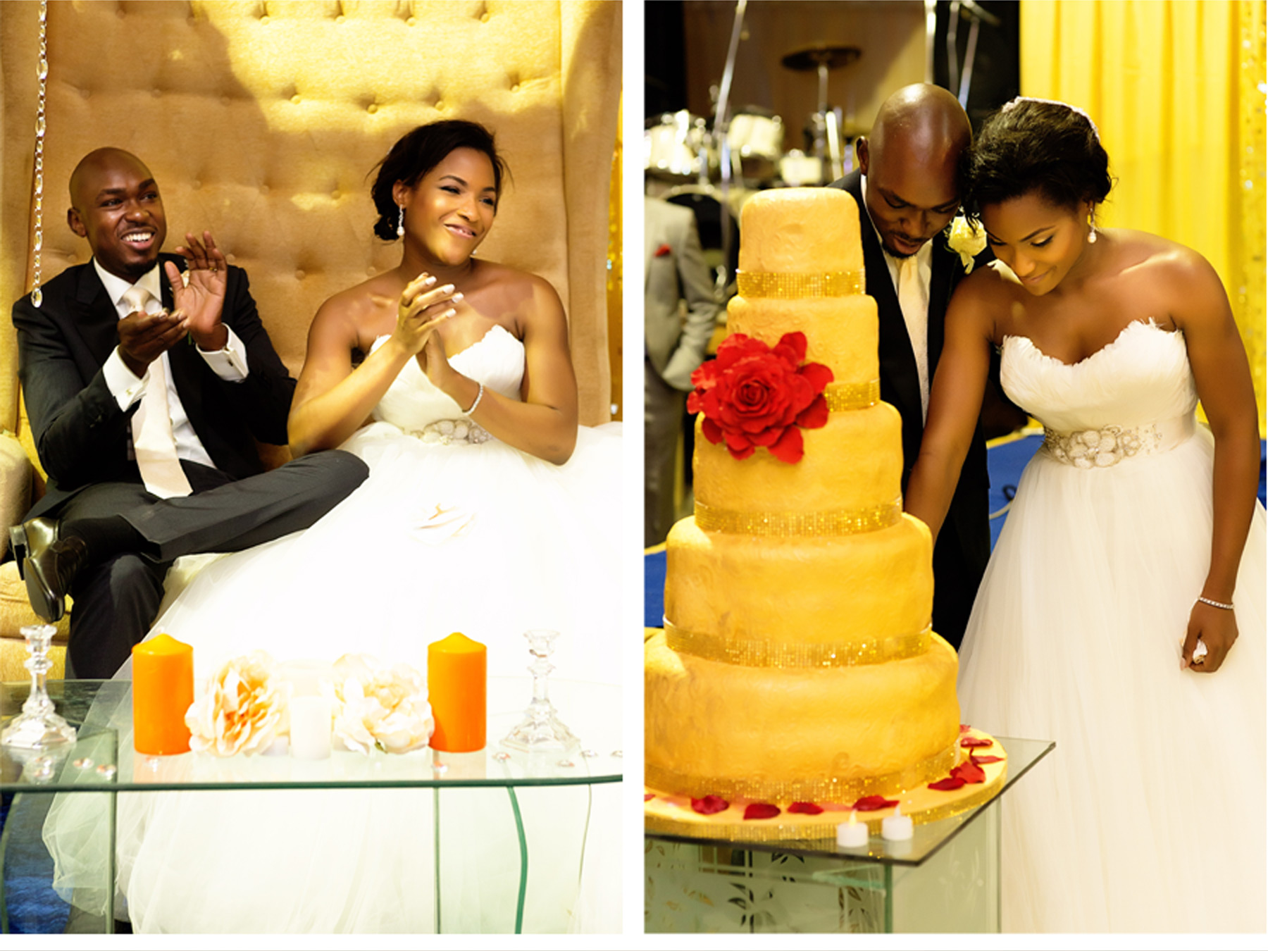 Our Muse - Bright Nigerian Wedding - Be inspired by Ndali Data & Kayode's bright Nigerian wedding in Lagos - wedding, nigeria, lagos, ark center, glamorous, bright, colorful, cake, gold, reception