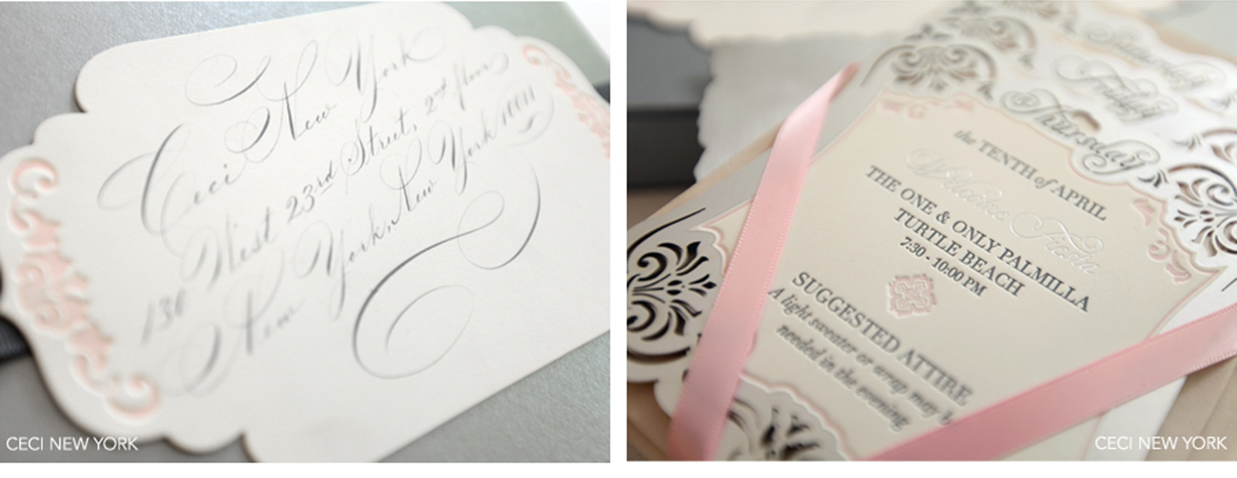 Luxury Wedding Invitations By Ceci New York Our Muse Laser Cut Mexico Beach