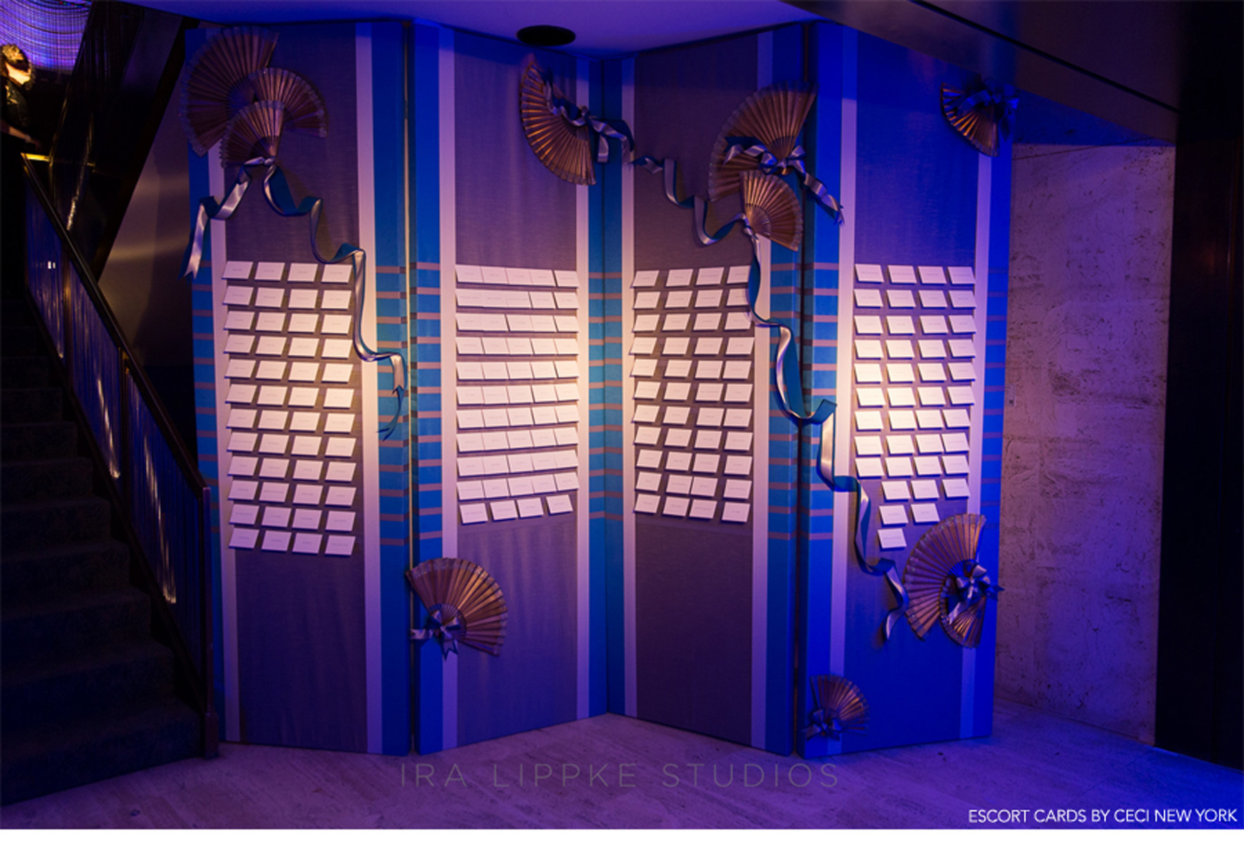 Our Muse - Blue Deco Bat Mitzvah - Be inspired by Samantha's blue, Deco-themed bat mitzvah at the Four Seasons Restaurant - deco, blue, gold, bat mitzvah, custom, design, new york city, dress, getting ready, escort card, wall, ceci new york, skeeball, four seasons, manhattan
