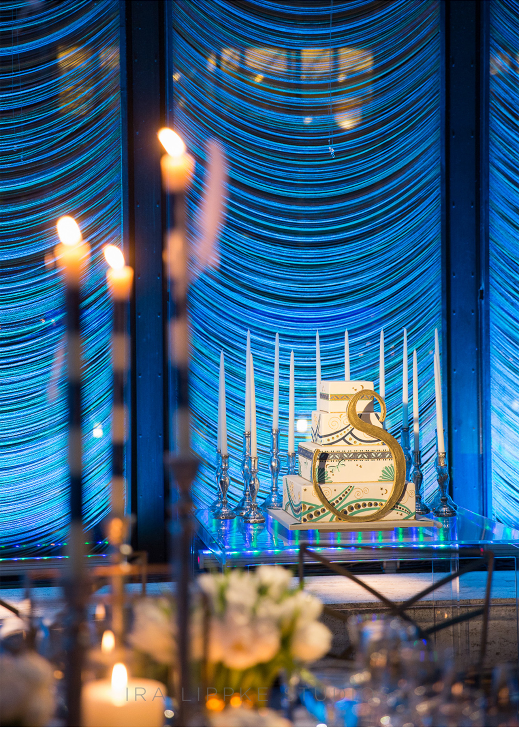 Our Muse - Blue Deco Bat Mitzvah - Be inspired by Samantha's blue, Deco-themed bat mitzvah at the Four Seasons Restaurant - deco, blue, gold, bat mitzvah, custom, design, new york city, ceci new york, monogram, cake, design, place card, laser-cut, favor, celebration, four seasons, menu, table sign, balloon, deco, luxury