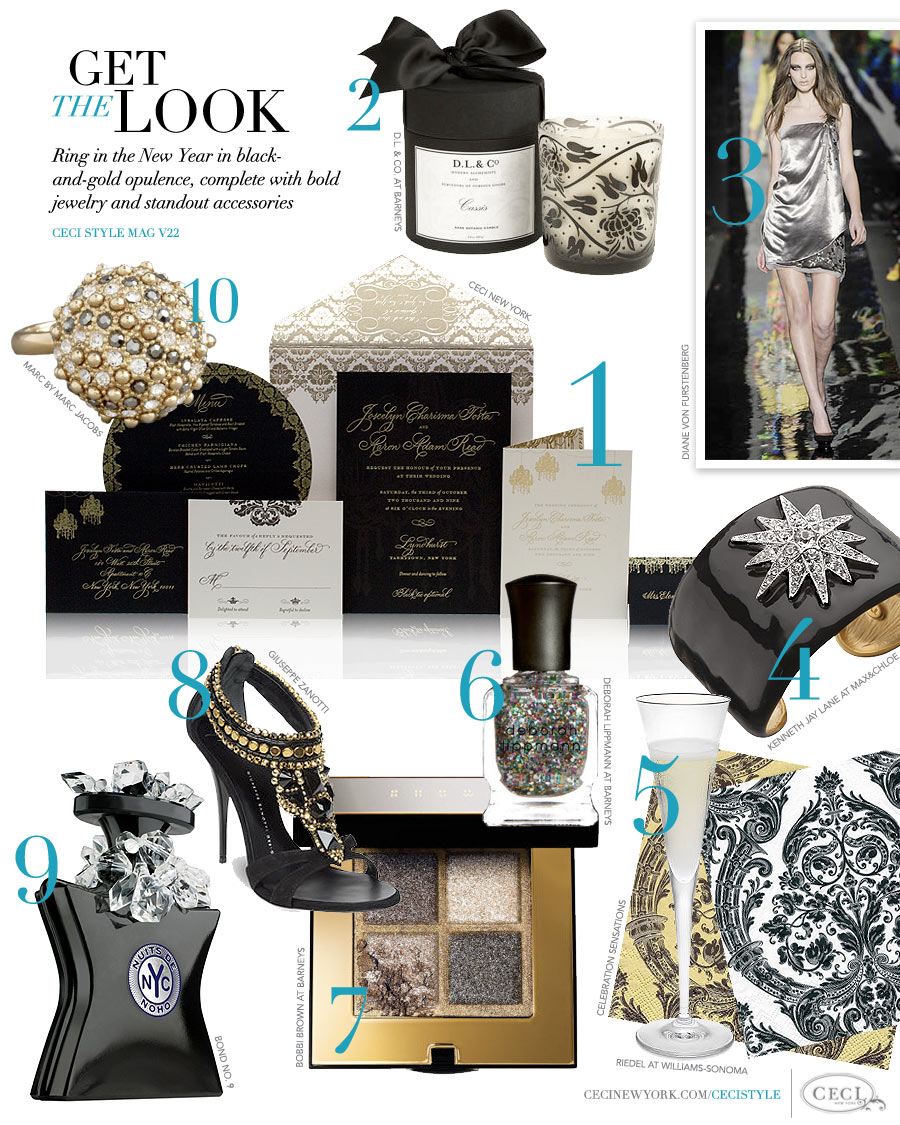 CeciStyle Magazine v22: Get The Look - New Year's Party - Ring in the New Year in black-and-gold opulence, complete with bold jewelry and standout accessories
