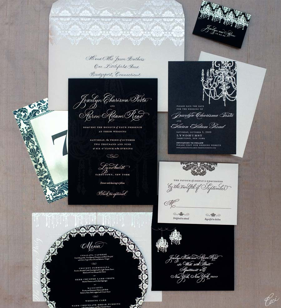 Luxury Wedding Invitations by Ceci New York - Our Muse - Be inspired by Joscelyn & Aaron's castle wedding at Lyndhurst Castle, Tarrytown, New York - foil stamping, hand calligraphy, invitations, letterpress printing, wedding