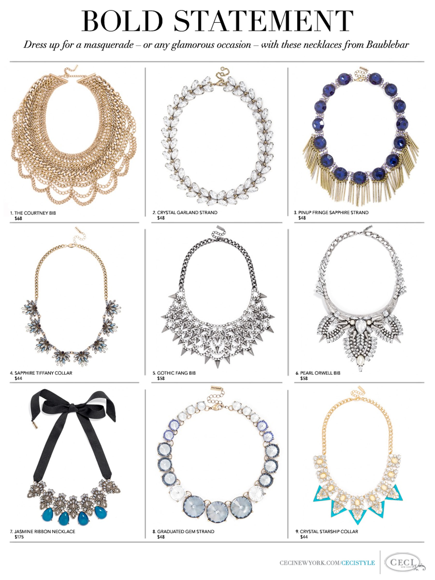 Stylish Statement Necklaces by Baublebar - Dress up for a masquerade – or any glamorous occasion – with these necklaces from Baublebar