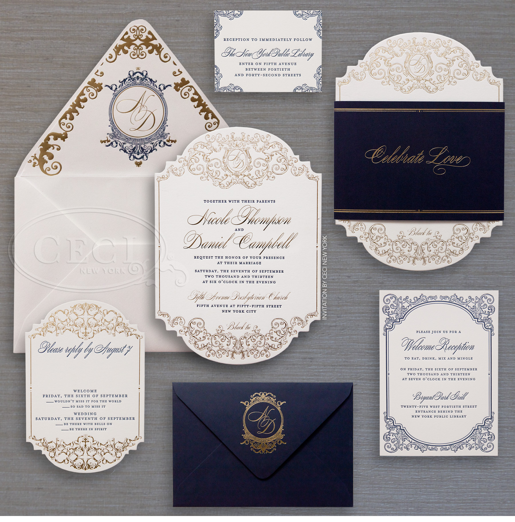 Ceci New York Wedding Invitations with good invitation sample